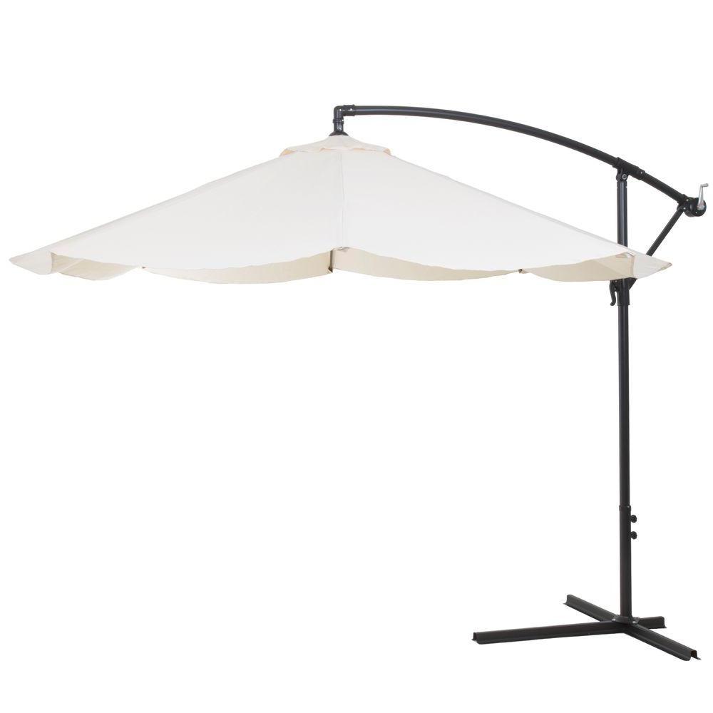 2020 Pure Garden 10 Ft. Offset Aluminum Hanging Patio Umbrella In Tan In Vassalboro Cantilever Umbrellas (Gallery 11 of 20)