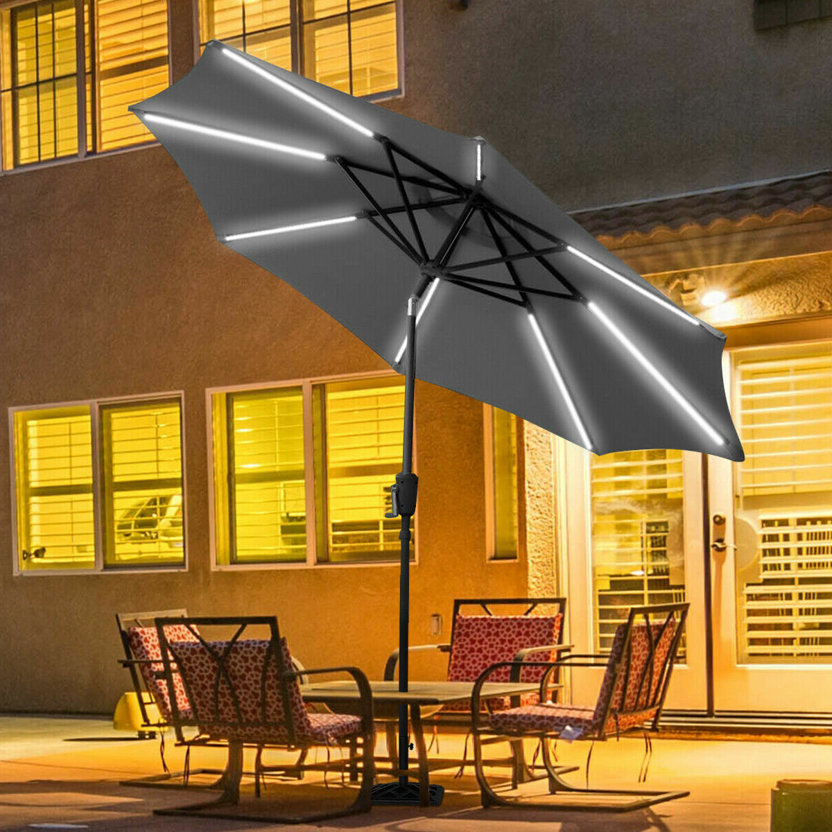 2020 Sinclair 9' Patio Led Light Market Umbrella Inside Herlinda Solar Lighted Market Umbrellas (View 13 of 20)