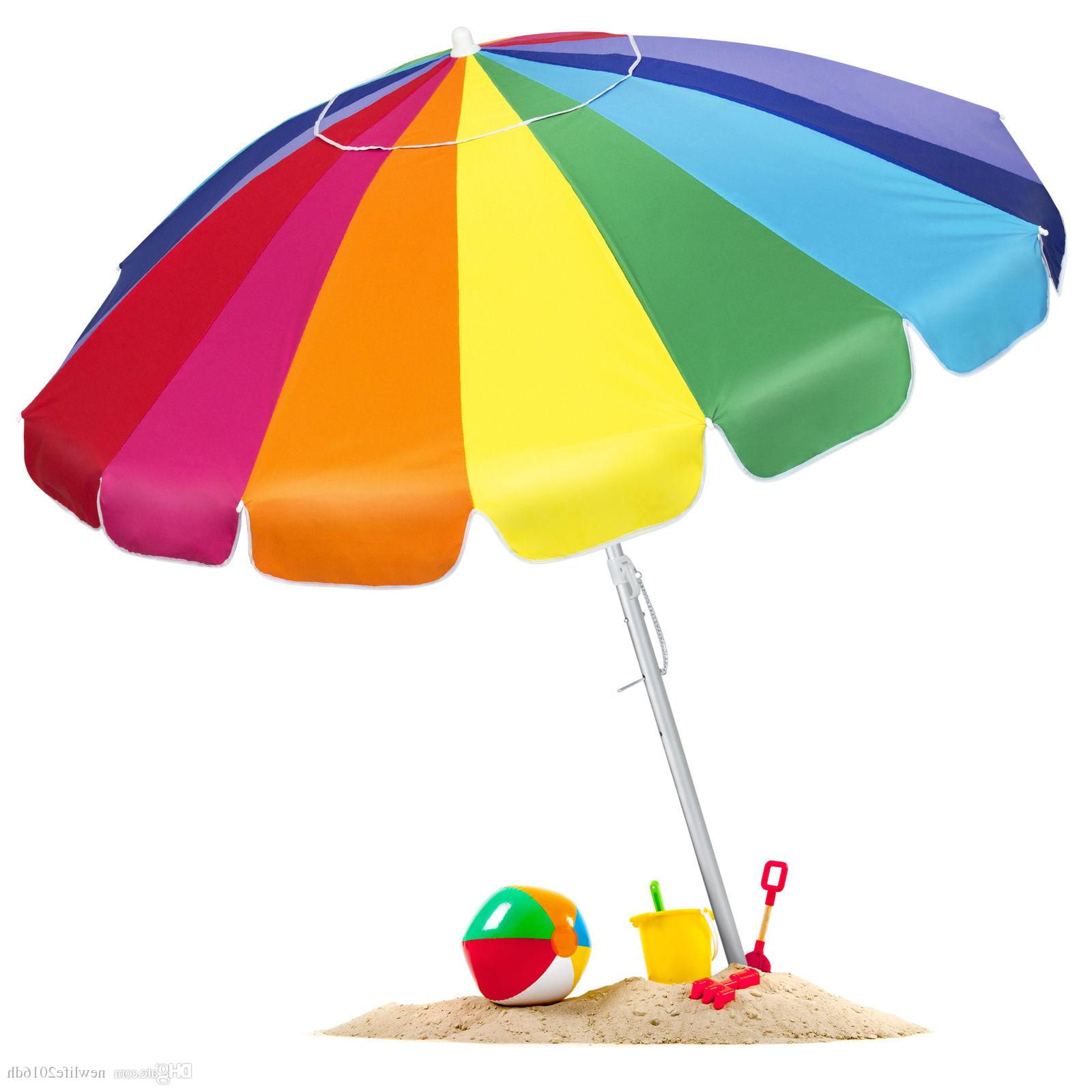 2020 Tilt Beach Umbrellas Intended For Bcp Tilt Rainbow Beach Umbrella W/ Carrying Case & Anchor – Multiple Sizes (Gallery 6 of 20)