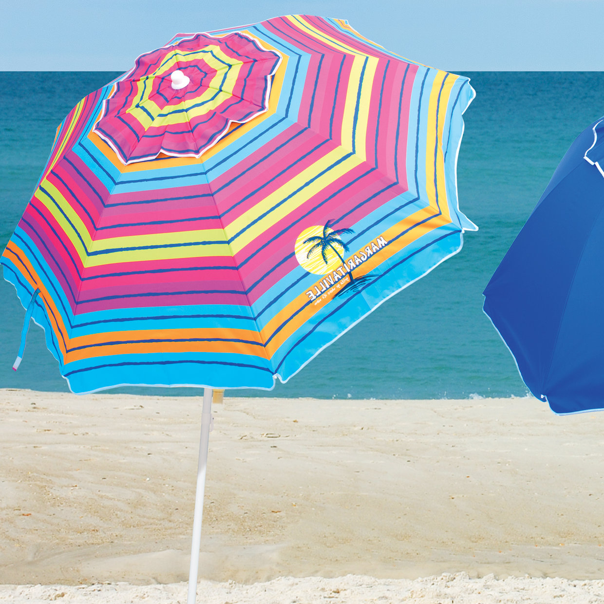 6.5' Beach Umbrella Within Most Popular Margaritaville Green And Blue Striped Beach With Built In Sand Anchor Umbrellas (Gallery 2 of 20)