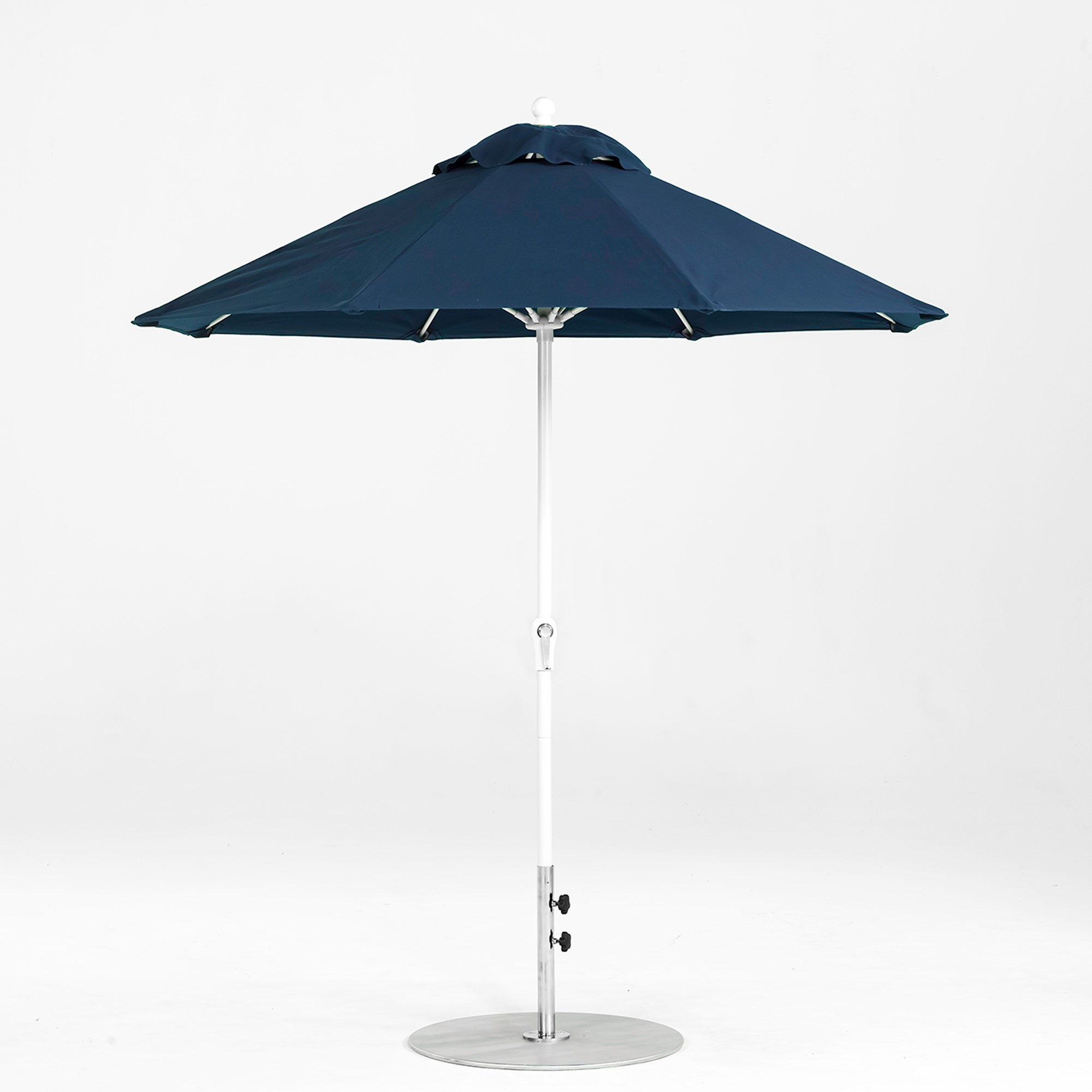 7.5 Ft. Crank Lift Fiberglass Market Umbrella With White Pole With Regard To Well Known Market Umbrellas (Gallery 6 of 20)