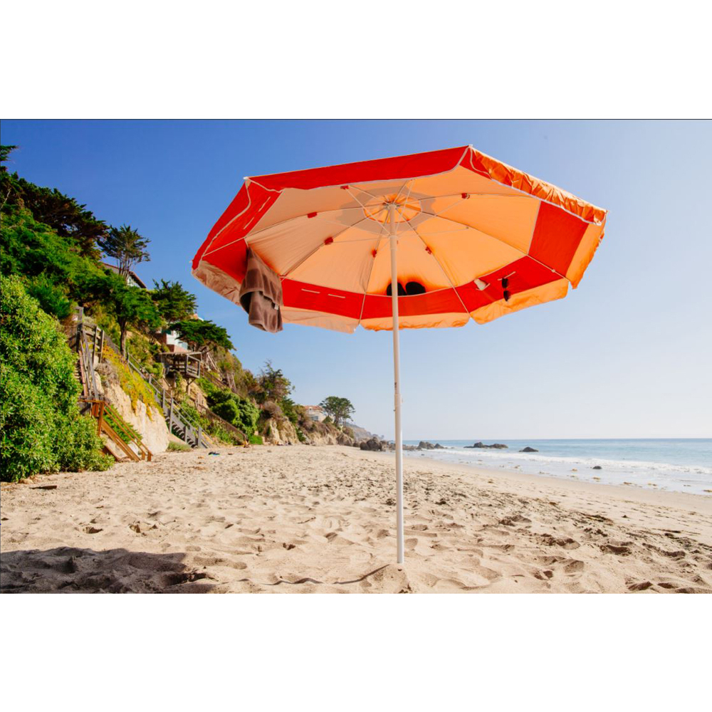 7 Ft. Pocketbrella Beach Umbrella W/ Interior Storage & Anchor – Orange Intended For Well Liked Margaritaville Green And Blue Striped Beach With Built In Sand Anchor Umbrellas (Gallery 20 of 20)