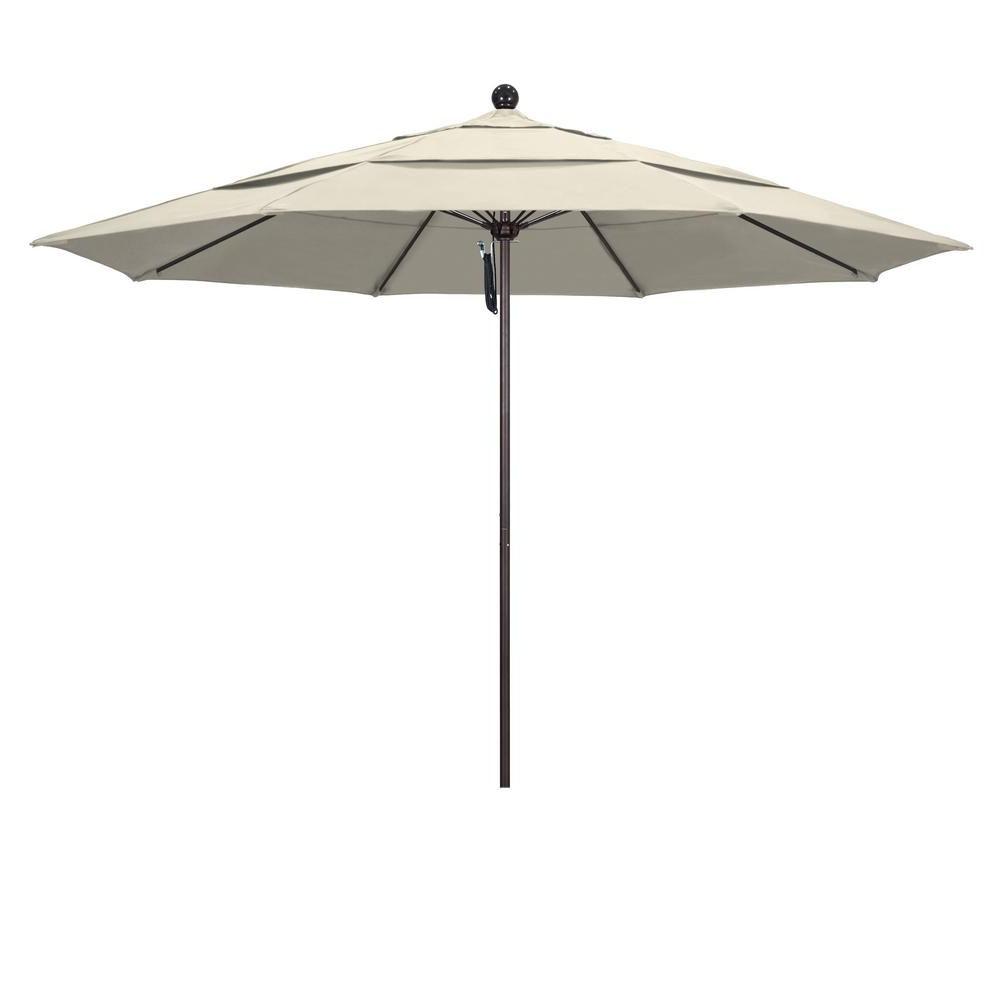 9' Round Coastal Stripe Patio Umbrella Coral – Black Pole Inside Most Recent Zeman Market Umbrellas (Gallery 11 of 20)