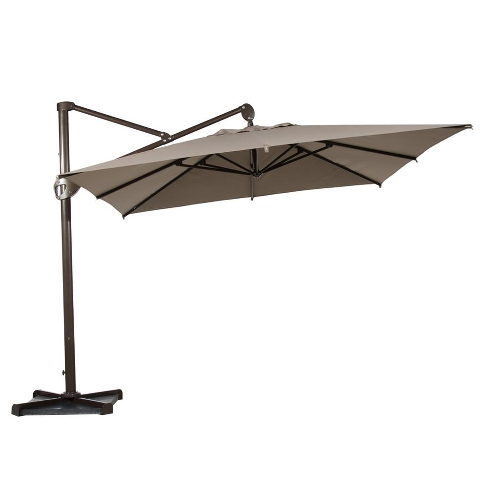 Abba Patio 10 Ft. Hanging Rectangular Cantilever Umbrella With Cross Base  And Umbrella Cover Offset Patio Umbrella In Tan Within Well Known Bondi Square Cantilever Umbrellas (Gallery 13 of 20)