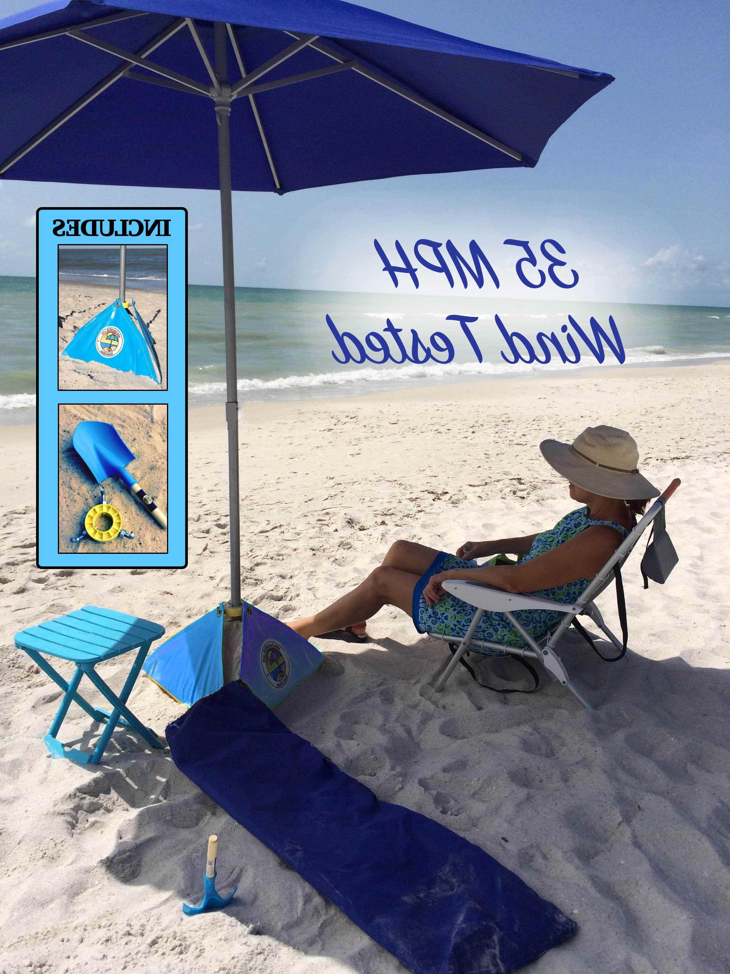 Amani 7' Beach Umbrella Regarding Trendy Leasure Fiberglass Portable Beach Umbrellas (View 13 of 20)
