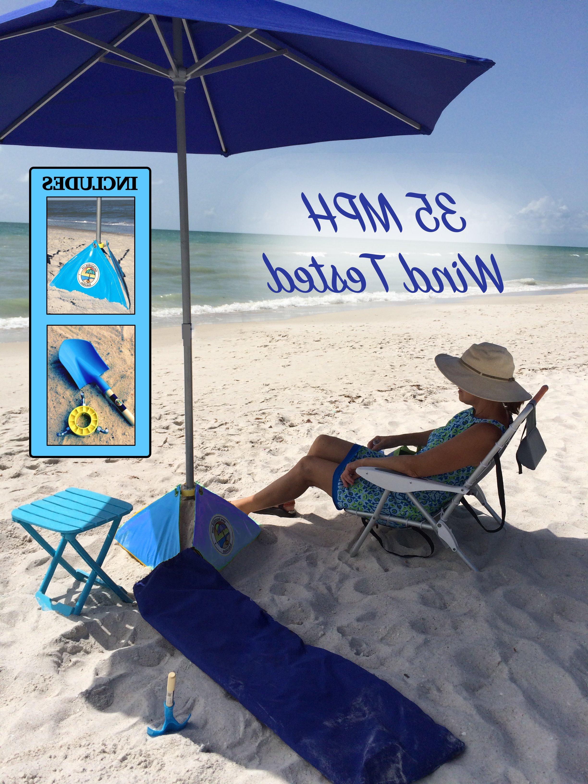 Amani 7' Beach Umbrella Regarding Trendy Leasure Fiberglass Portable Beach Umbrellas (View 2 of 20)