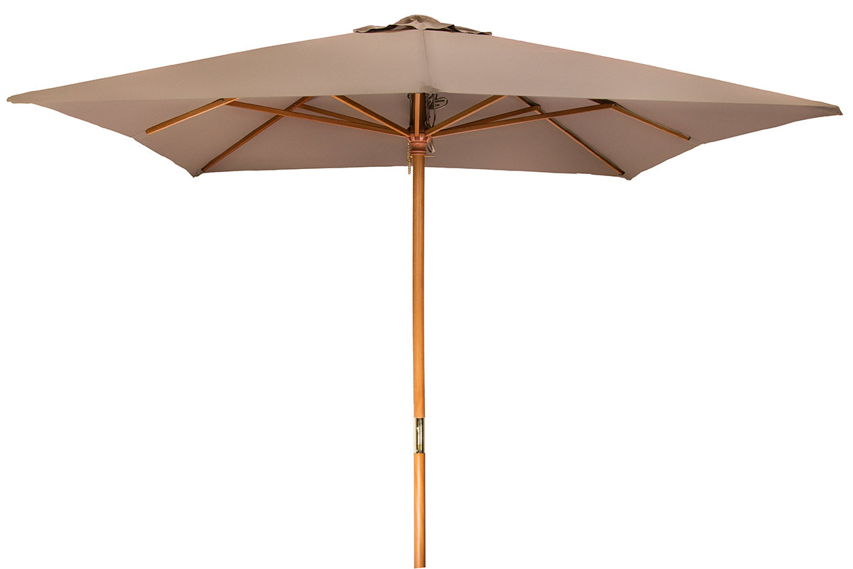 Areleen Wood Frame Patio 8' Square Market Umbrella Within Well Liked Sittard Market Umbrellas (Gallery 3 of 20)