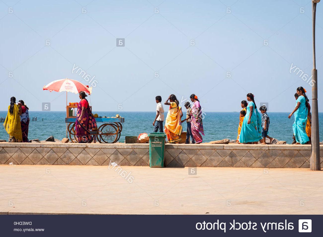 Auriville Beach Umbrellas In Well Known India Tamil Nadu Pondicherry Puducherry Promenade Beach Sea Sand (View 2 of 20)