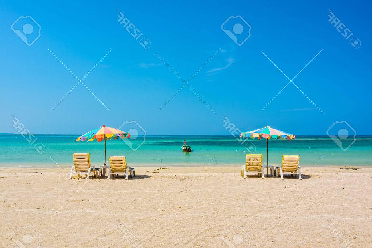 Beach Umbrellas And Sunbathe Seats On Phuket Sand Beach In Southern.. Regarding Well Known Beach Umbrellas (Gallery 19 of 20)