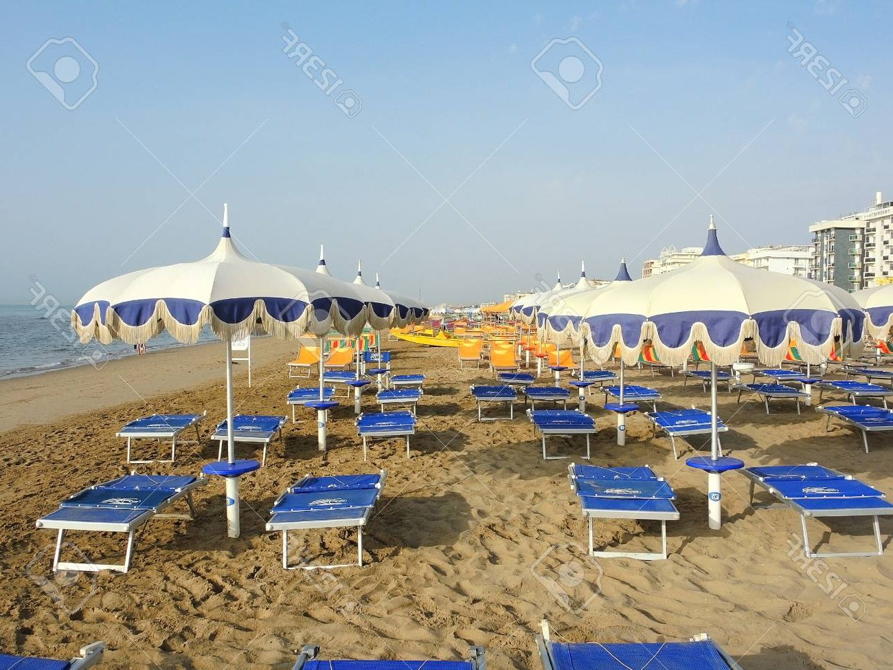 Beach Umbrellas, Gazebos And Sun Beds At Italian Sandy Beaches With Regard To 2019 Italian Beach Umbrellas (View 6 of 20)