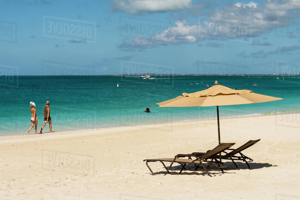 Beach Umbrellas On Grace Bay Beach, Providenciales, Turks And Caicos Islands, West Indies, Central America Stock Photo With Best And Newest Beach Umbrellas (View 16 of 20)