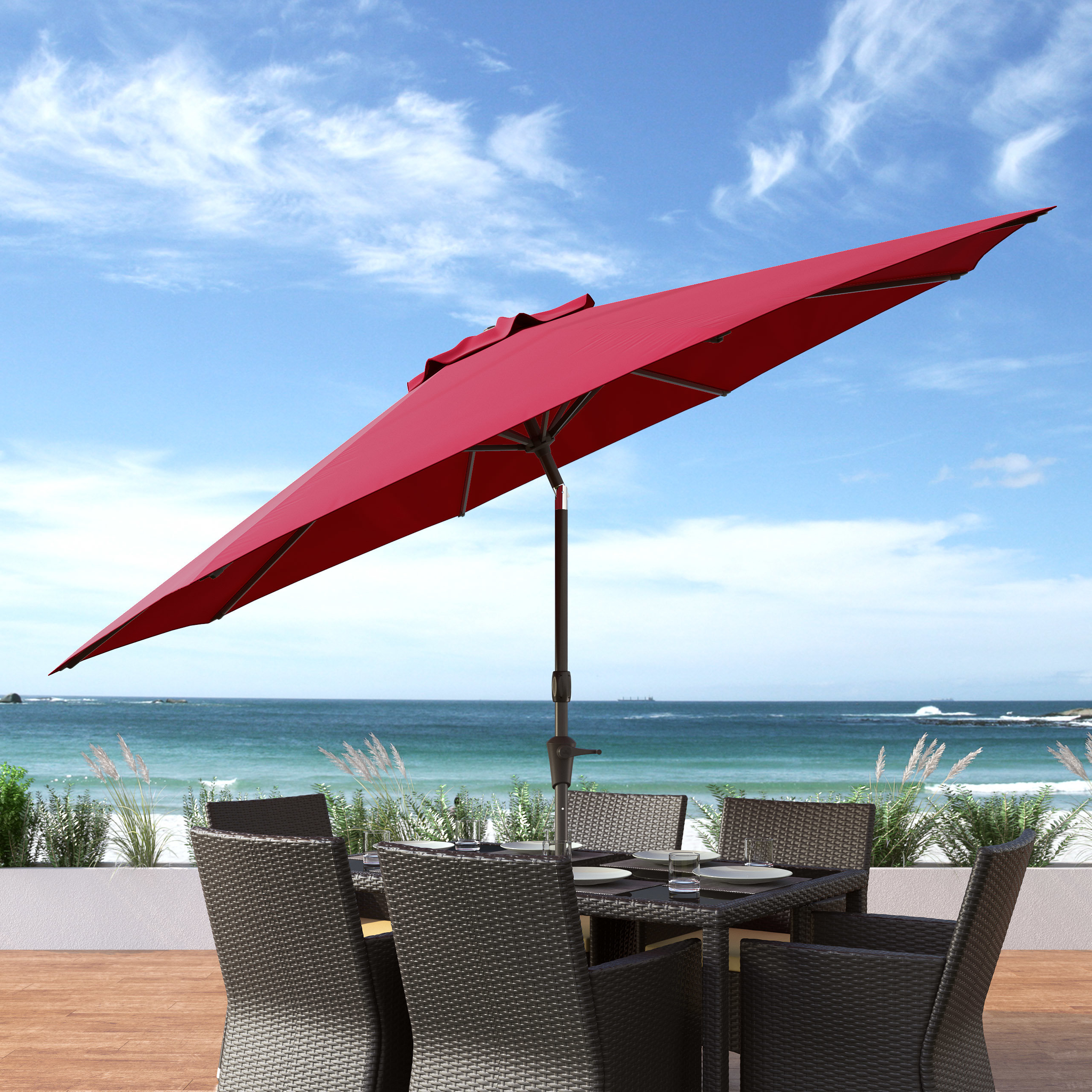Beachcrest Home Markley 10' Market Umbrella With Well Liked Featherste Market Umbrellas (View 18 of 20)