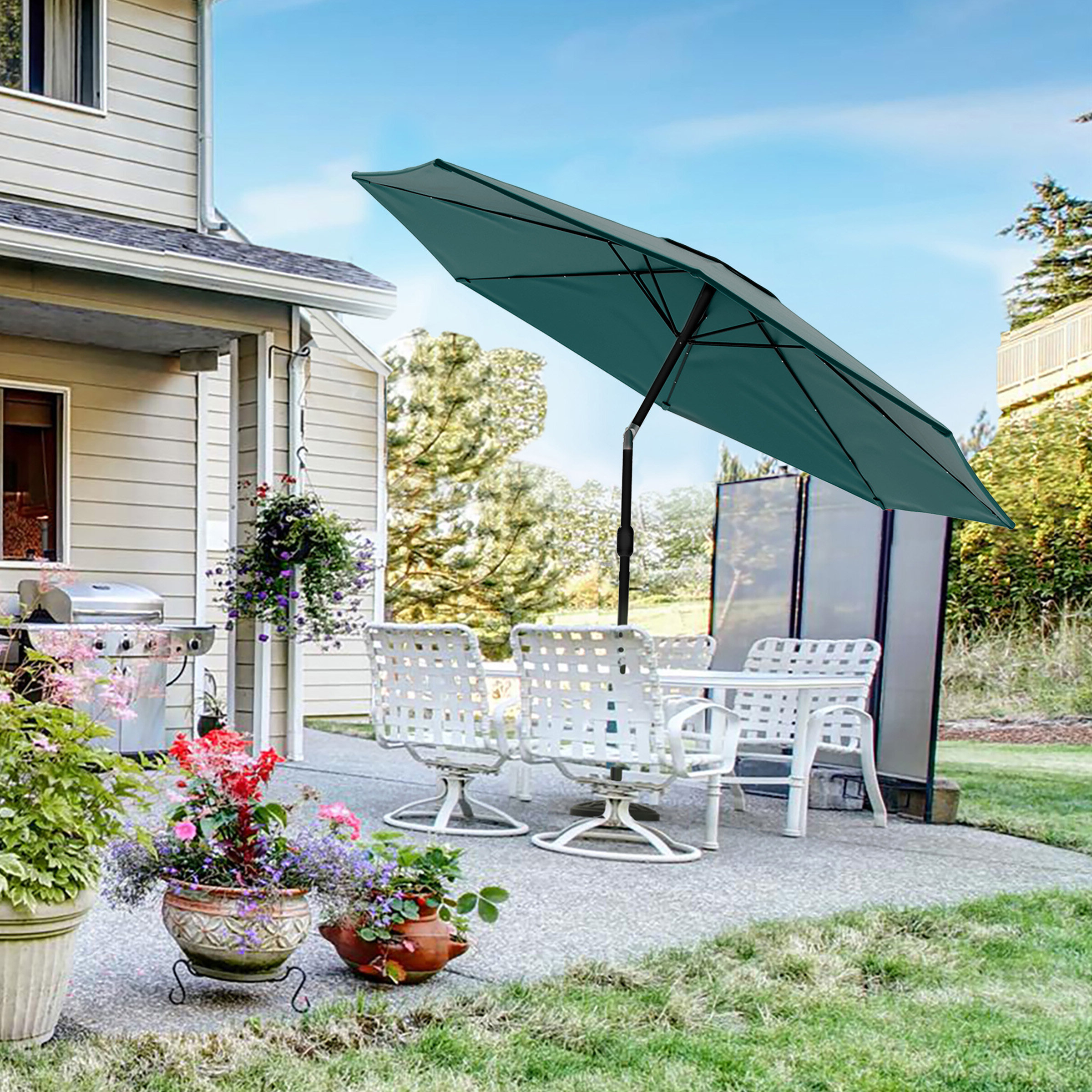 Best And Newest Brecht Lighted Umbrellas With Regard To Solar Powered Led Patio Umbrella (Gallery 4 of 20)
