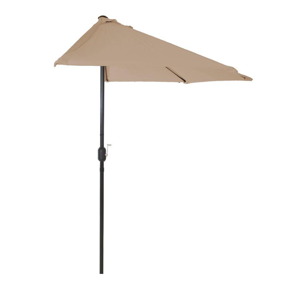 Best And Newest Breen Market Umbrellas Within Pure Garden 9 Ft. Half Round Patio Market Umbrella In Sand (Gallery 4 of 20)