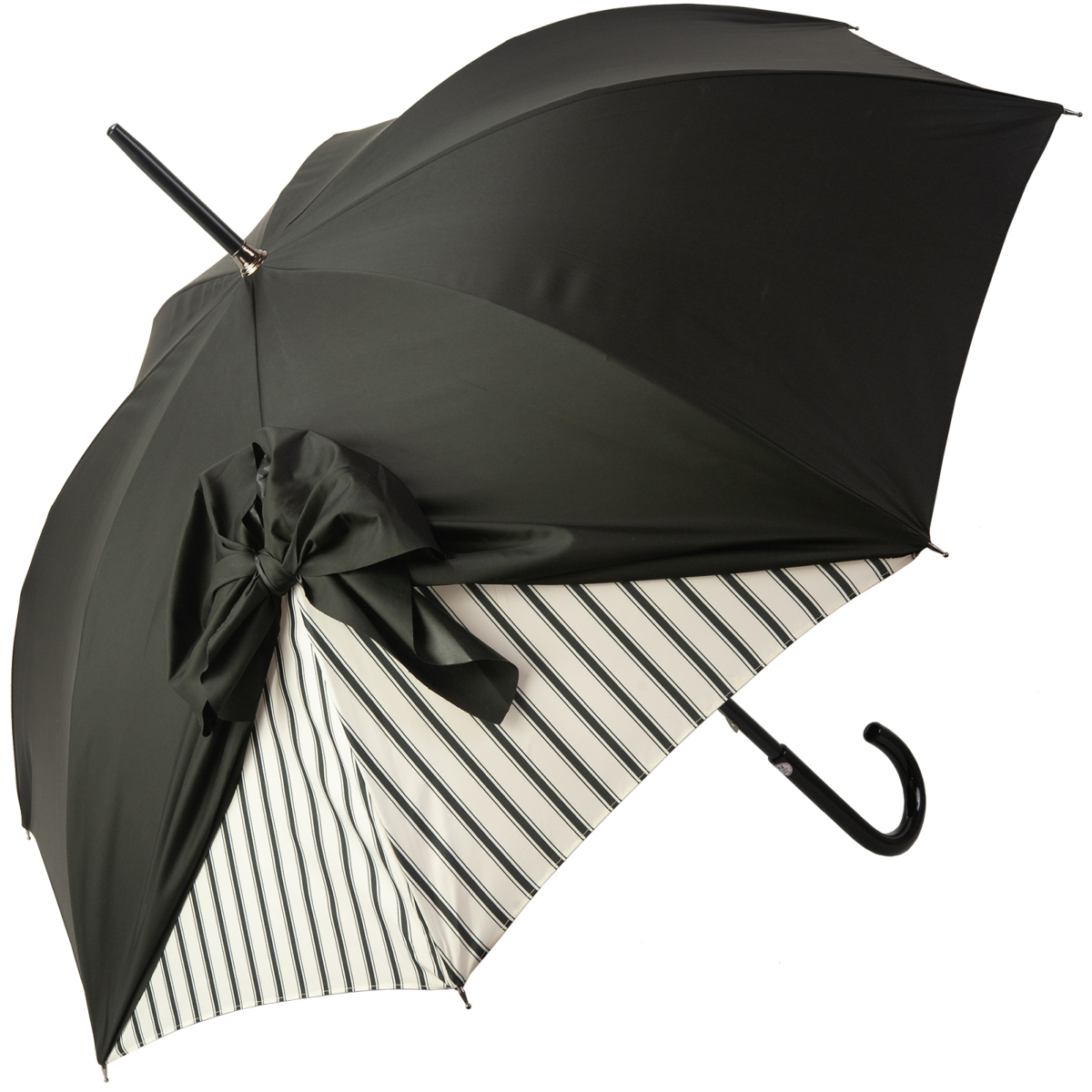 Best And Newest Drape Umbrellas Intended For Drape Bow Umbrella With Black Stripe On Creamchantal Thomass (View 4 of 20)
