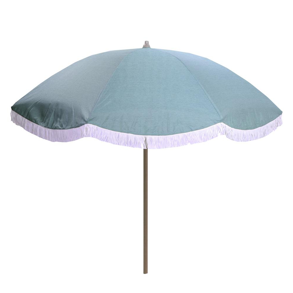 Best And Newest Italian Drape Umbrellas With Hampton Bay 8 Ft. Aluminum Drape Tilt Patio Umbrella In Spa With Fringe (Gallery 15 of 20)
