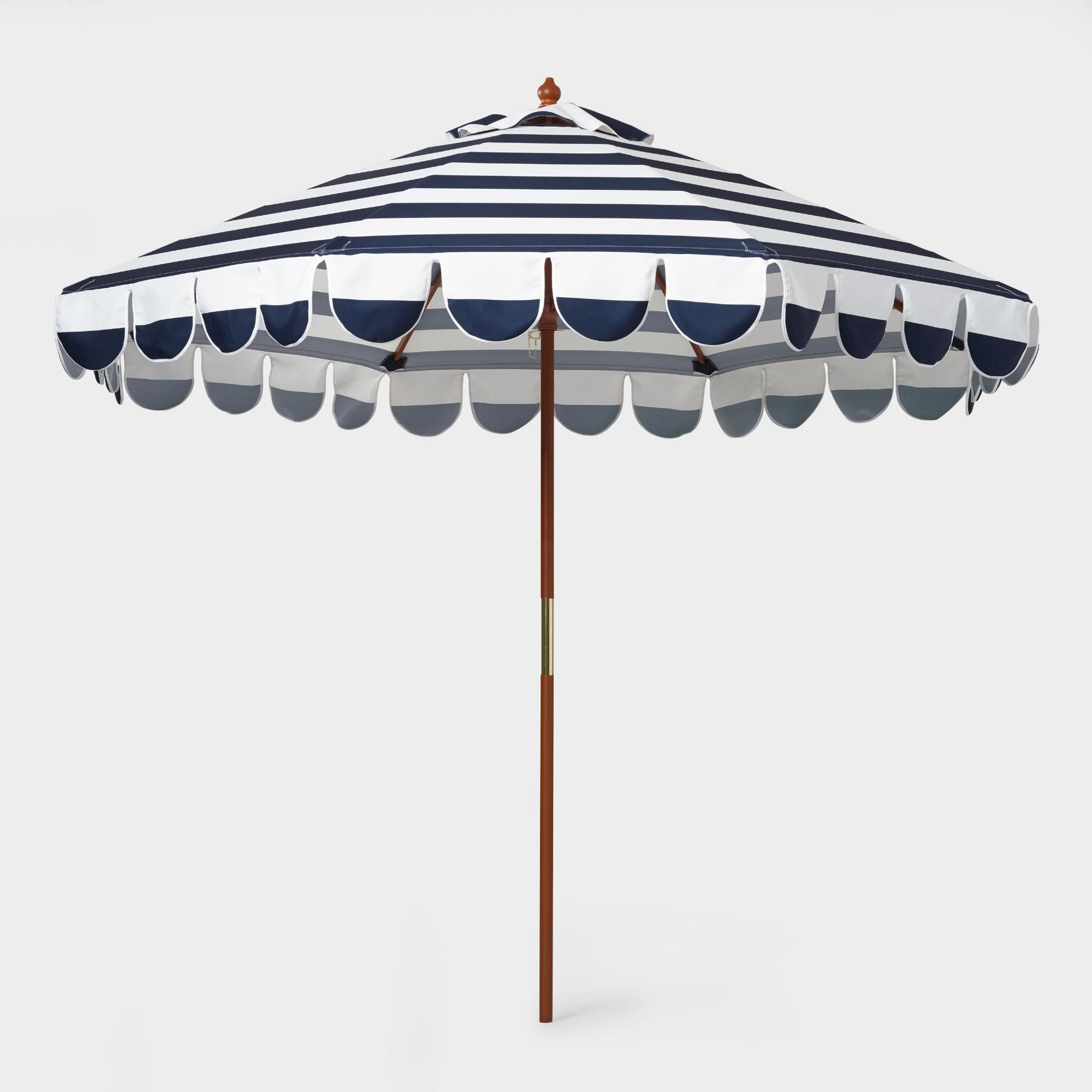 Best And Newest Lambeth Market Umbrellas In Featuring A Classic Blue And White Striped Design With Scallop Trim (View 13 of 20)