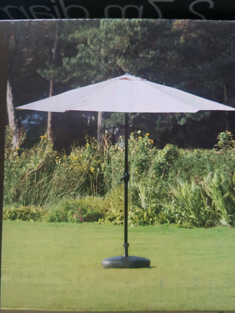 Best And Newest Lytham Cantilever Umbrellas Regarding Crank Handle Parasol / Cream, Base Not Included (View 3 of 20)