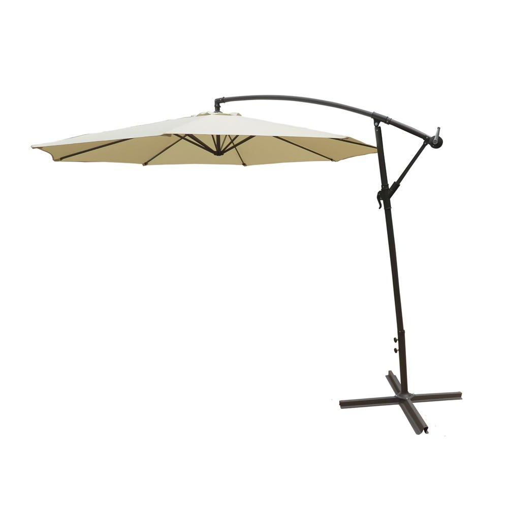 Best And Newest Solar Lighted – Patio Umbrellas – Patio Furniture – The Home Depot Regarding Griselda Solar Lighted Rectangular Market Umbrellas (View 12 of 20)