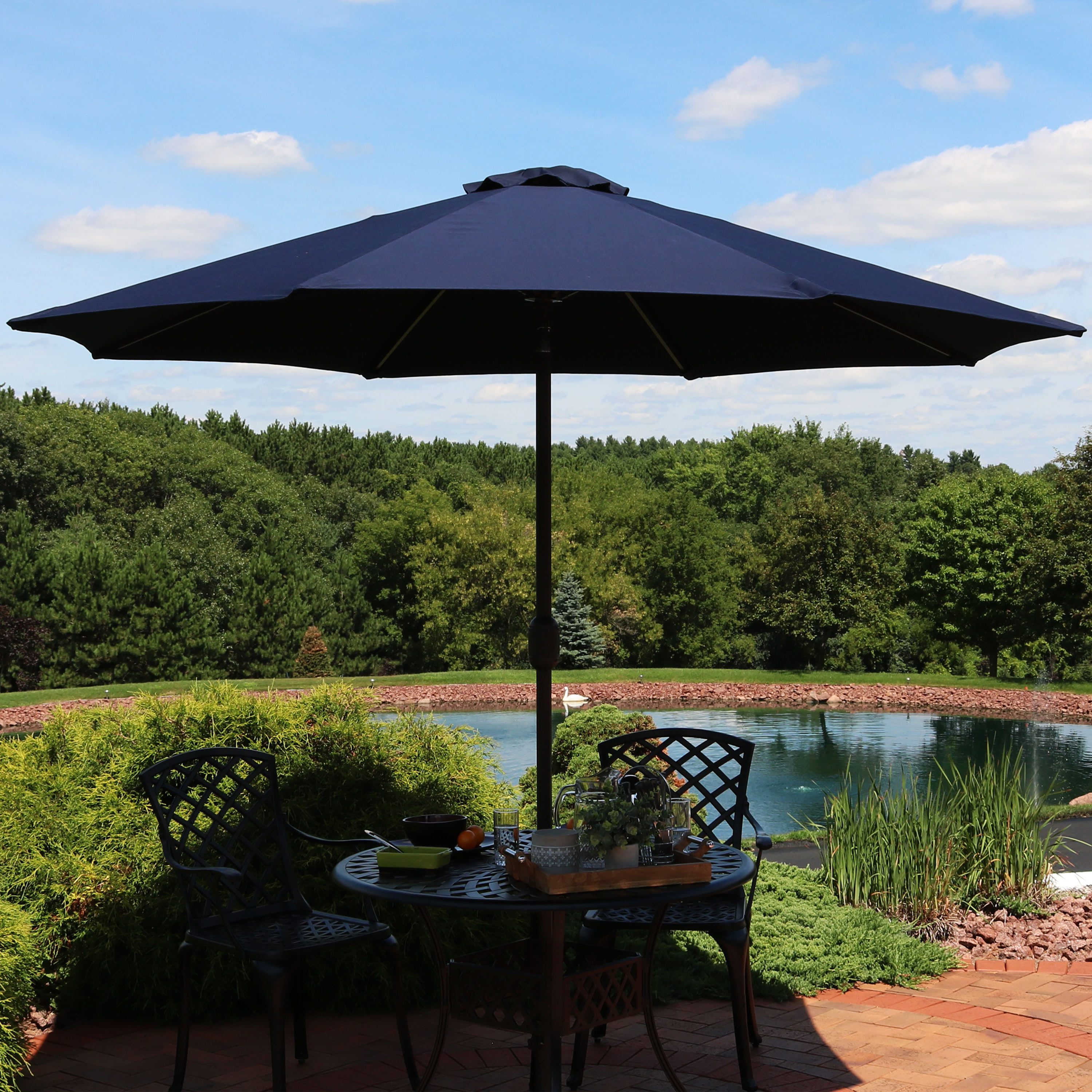 Best And Newest Sunnydaze Sunbrella Patio Umbrella With Auto Tilt And Crank, 9 Foot Outdoor  Market Umbrella, Rust Resistant Aluminum, Sunbrella Beige With Julian Market Sunbrella Umbrellas (View 3 of 20)