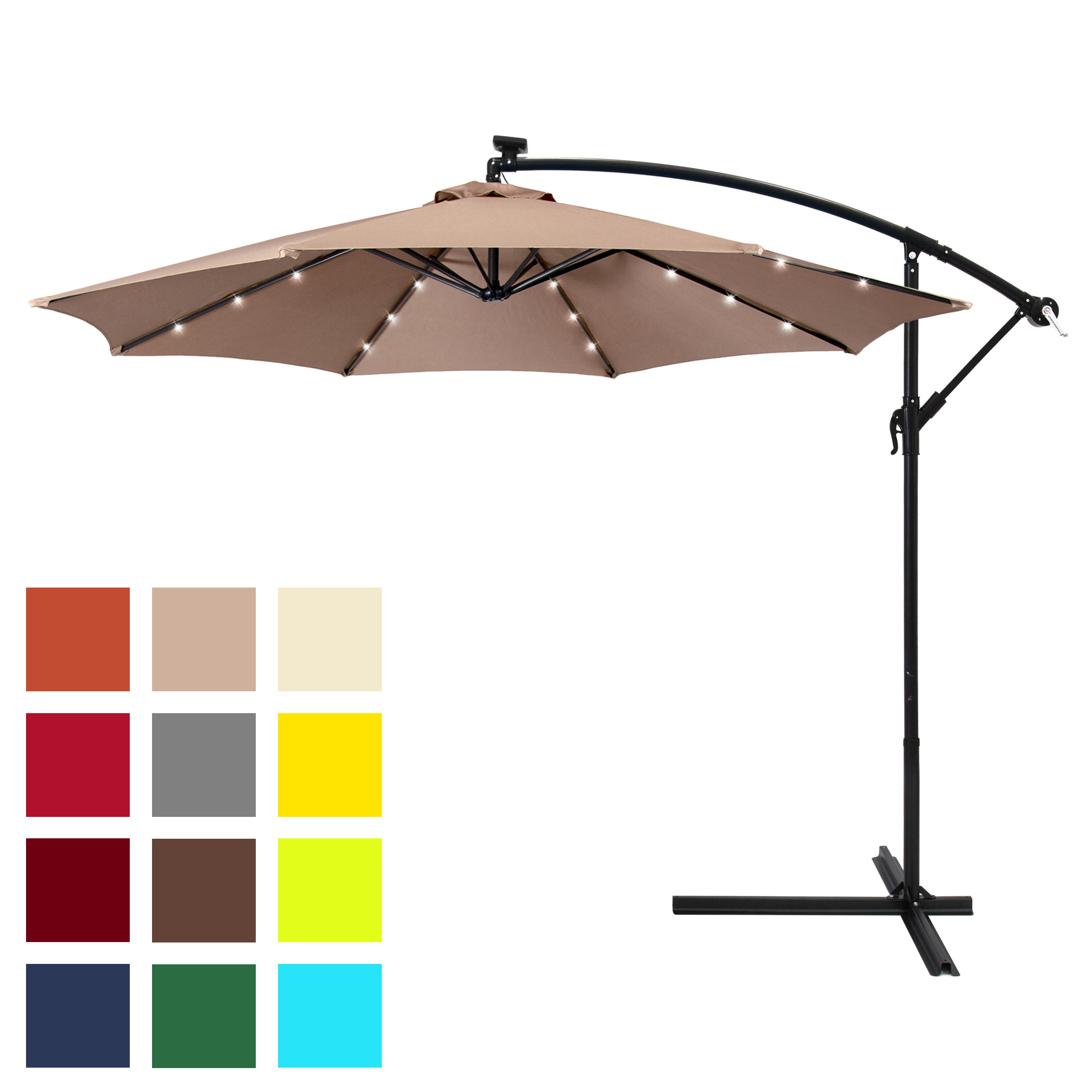 Best Choice Products 10Ft Solar Led Offset Patio Umbrella W/ Easy Tilt Adjustment – Tan Throughout Most Recent Solar Powered Led Patio Umbrellas (View 11 of 20)