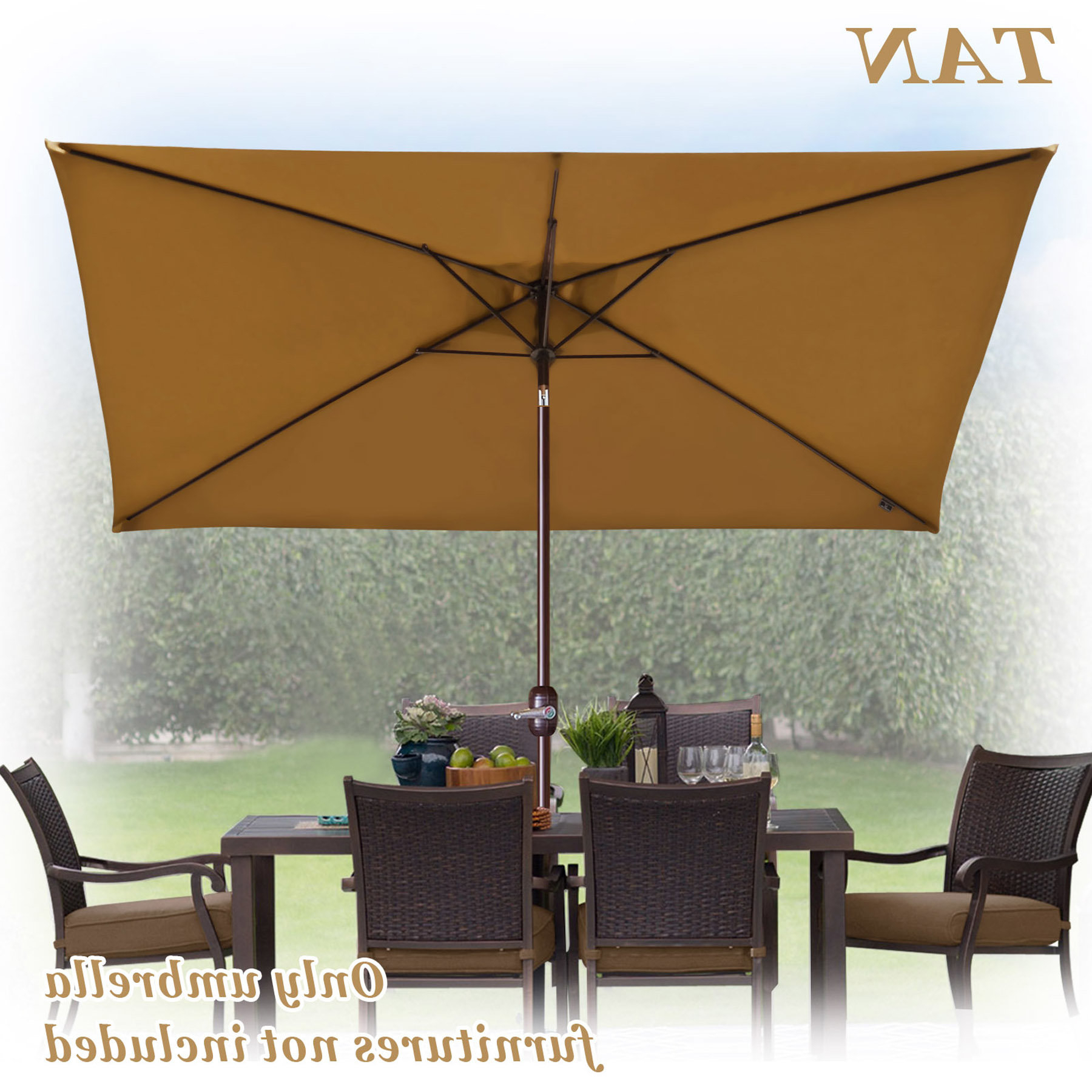 Bickford Outdoor Garden Patio Market Umbrella Throughout Current Gries Rectangular Market Umbrellas (View 12 of 20)