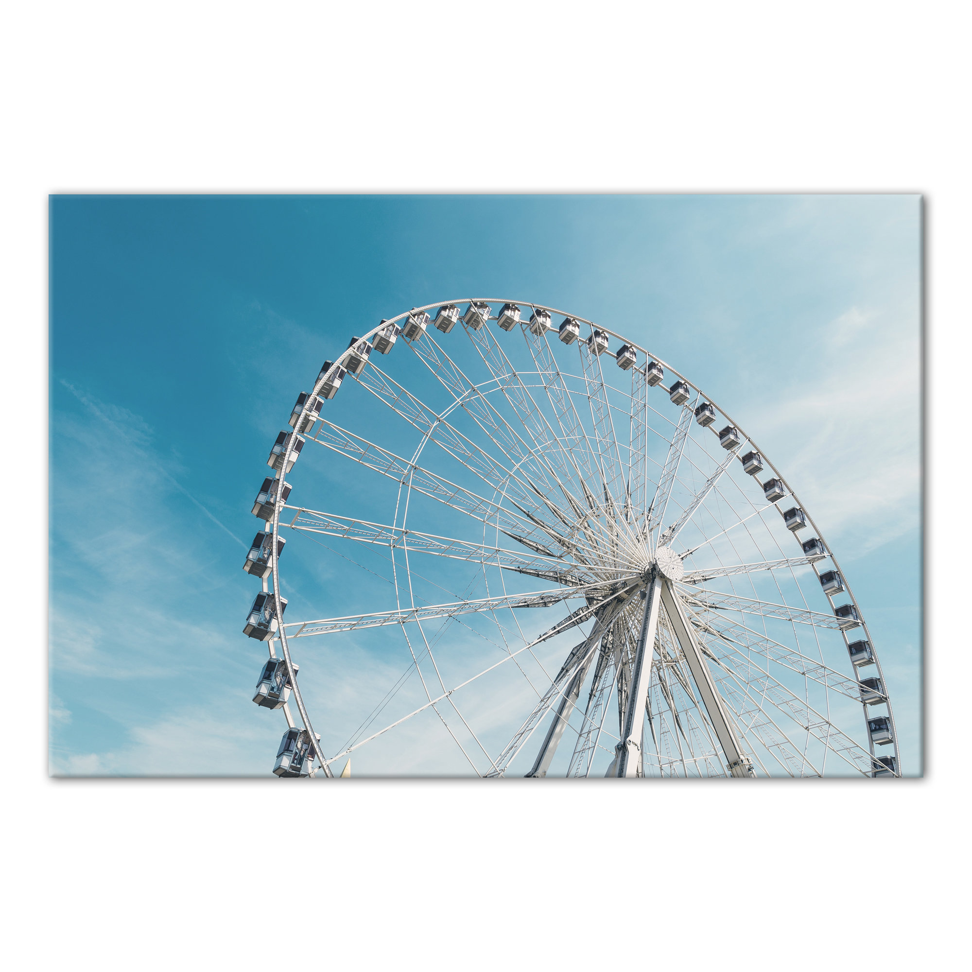 Bonview Rectangular Market Umbrellas In 2020 'ferris Wheel On Cloudy Blue Day' Photographic Print On Canvas (View 17 of 20)