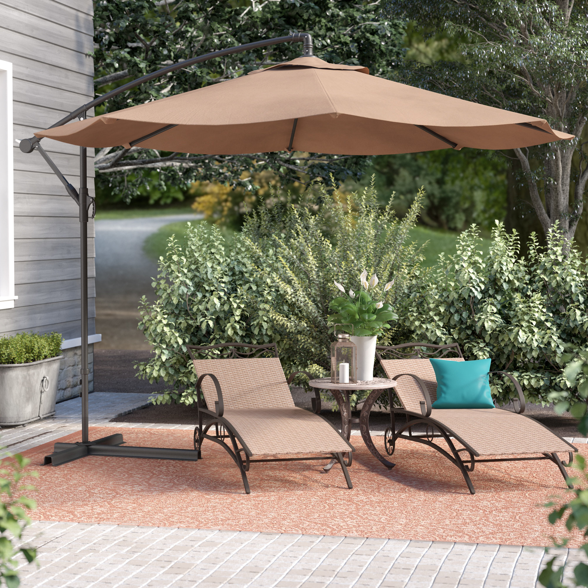 Bormann 10' Cantilever Umbrella Intended For Fashionable Dore Patio Cantilever Umbrellas (View 8 of 20)