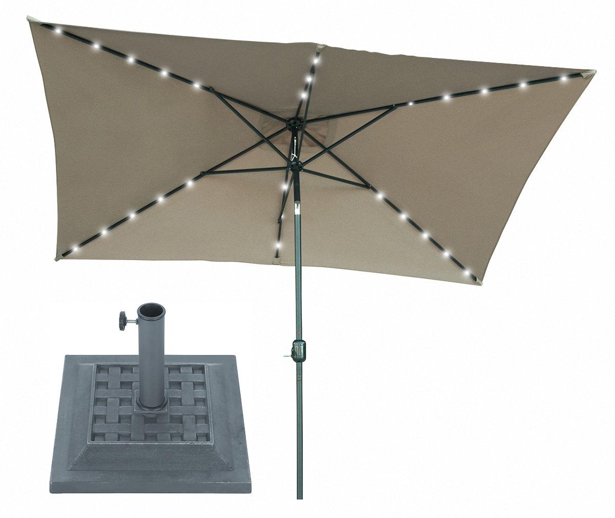 Bramblett 10' X 6.5' Rectangular Lighted Umbrella With Regard To Famous Pau Rectangular Market Umbrellas (Gallery 8 of 20)