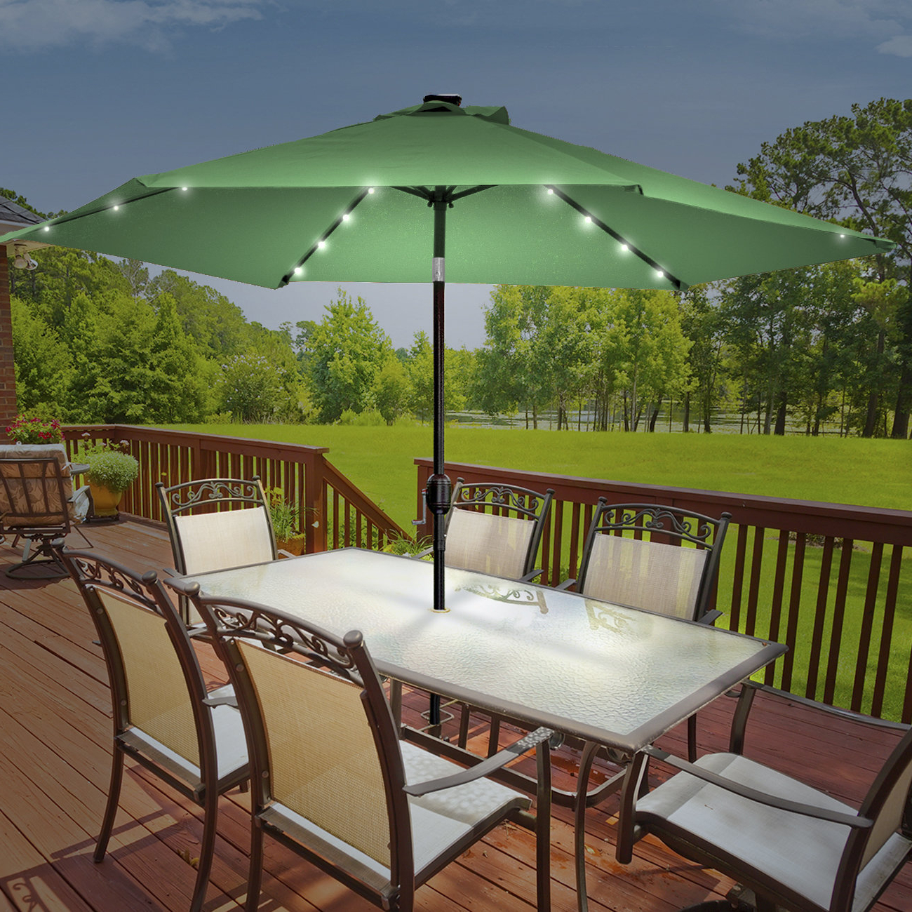 Branam Lighted Umbrellas With Regard To Widely Used Rahate Solar Led Outdoor 10' Market Umbrella (View 3 of 20)