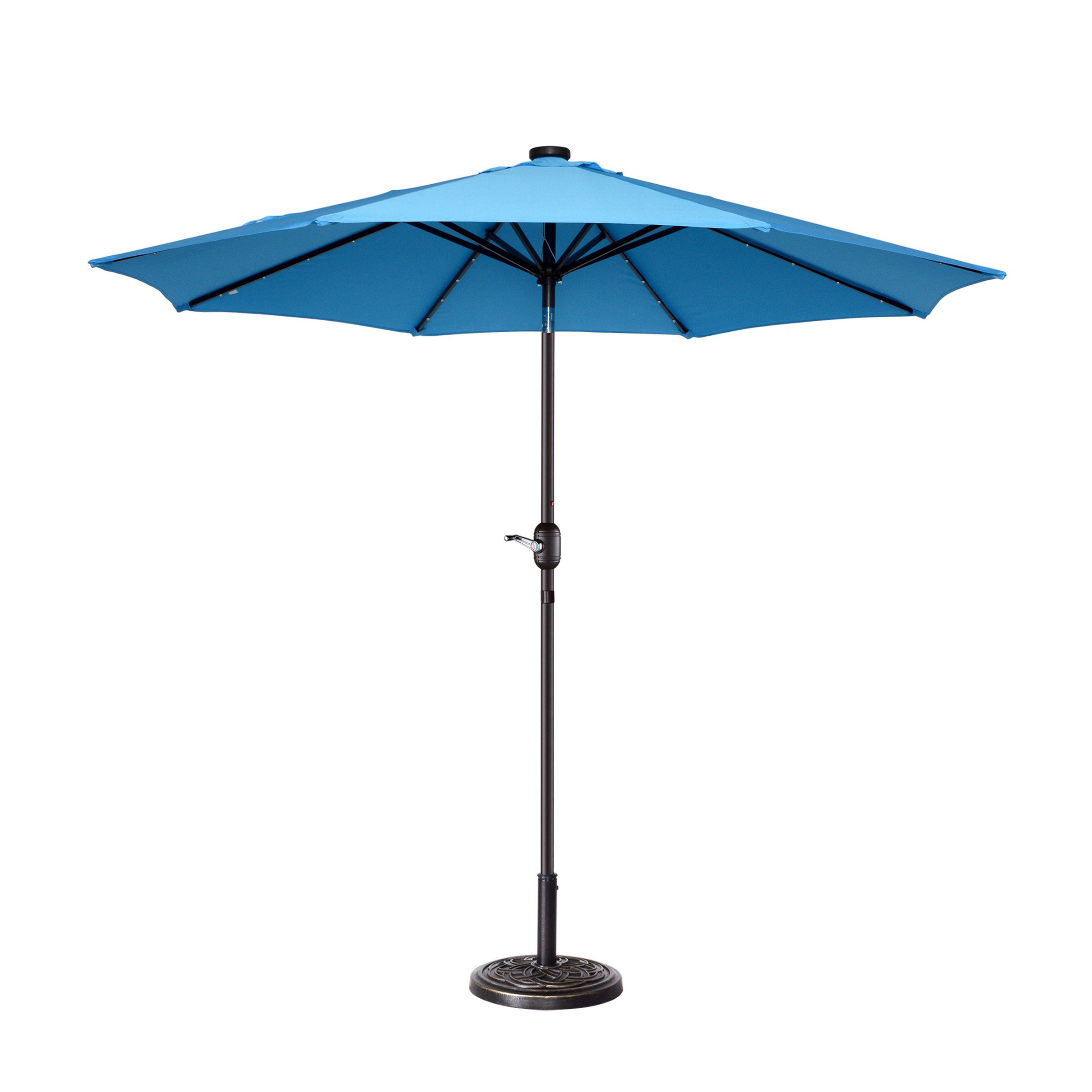 Branscum Lighted Umbrellas In Well Known Coggeshall Led Lighted 9' Market Umbrella (View 1 of 20)