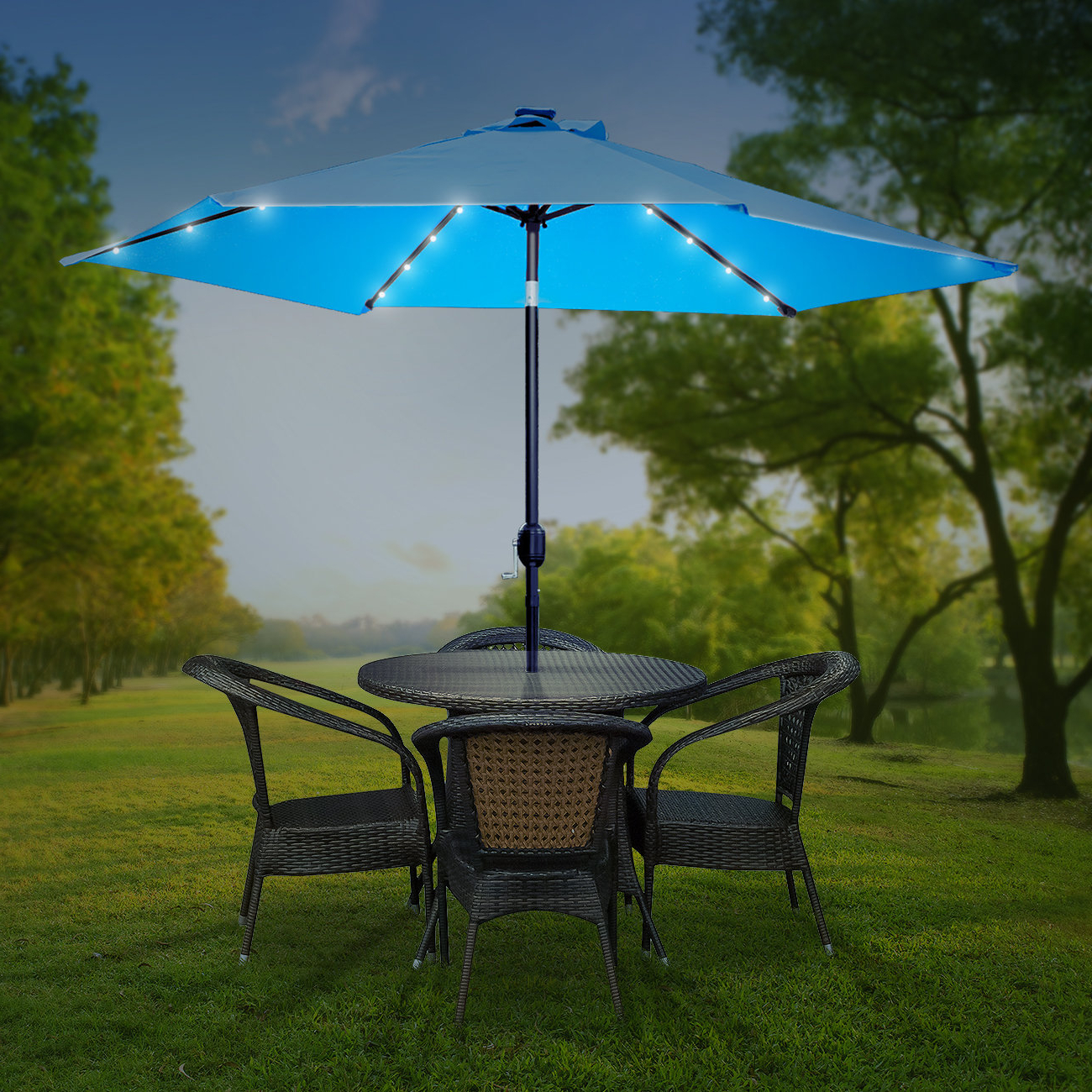 Brecht Lighted Umbrellas Within Well Known Charlize Illuminated 10' Umbrella (View 7 of 20)
