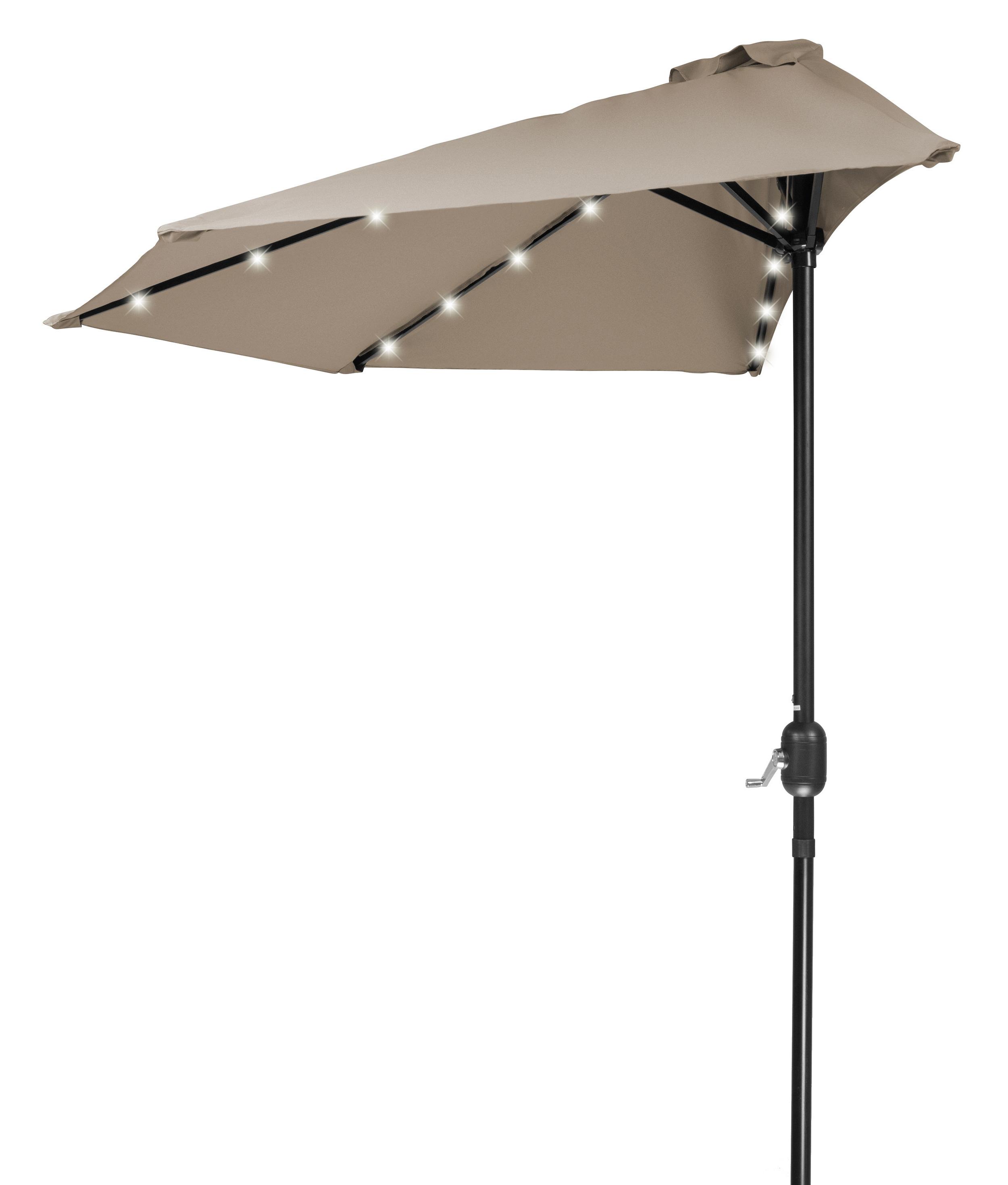 """Bricker Market Umbrellas For Most Popular Breaux 4'5"""" Lighted Half Umbrella (Gallery 13 of 20)"""