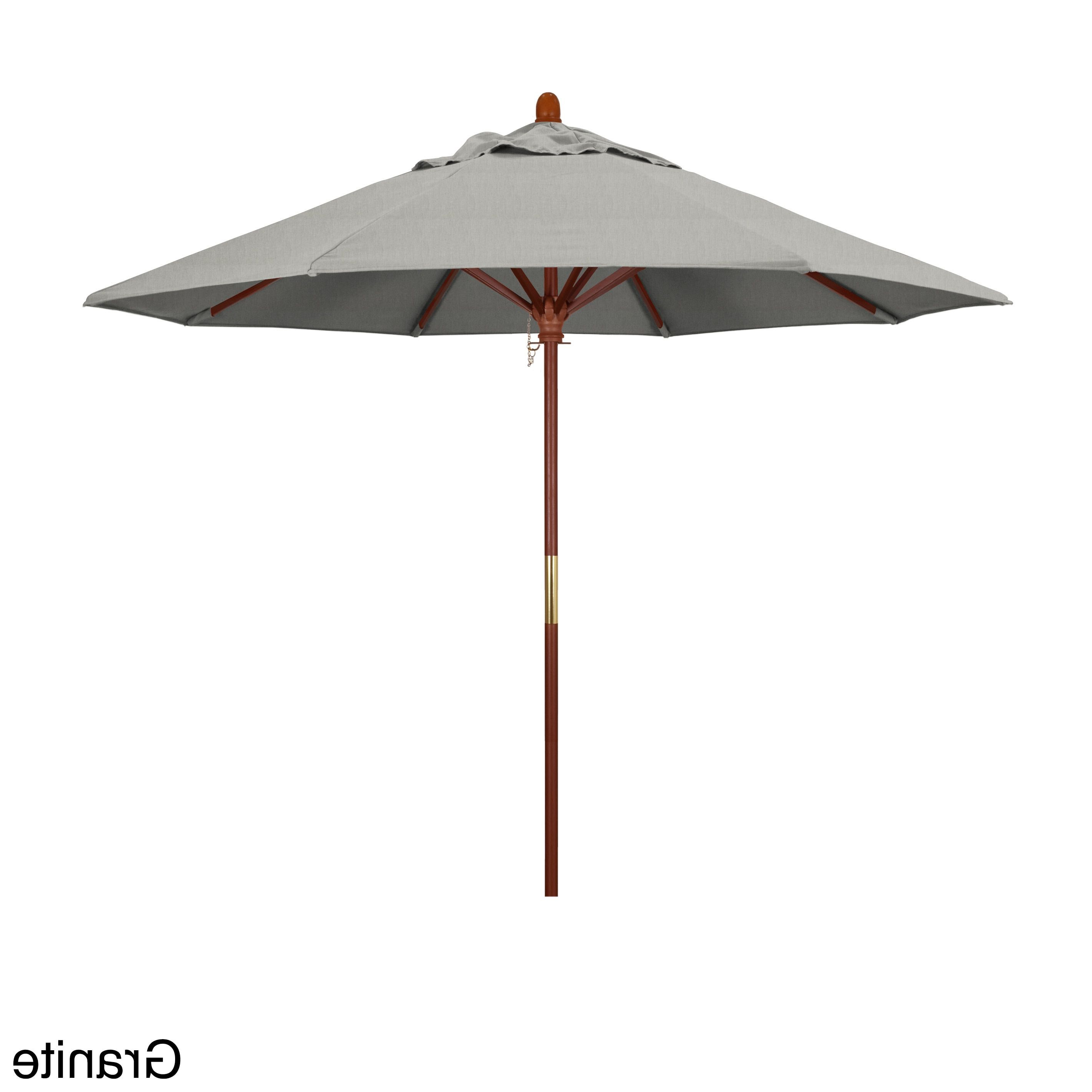 California Umbrella 9' Round Marenti Wood Frame Market Umbrella With Regard To Well Known Devansh Drape Umbrellas (View 3 of 20)