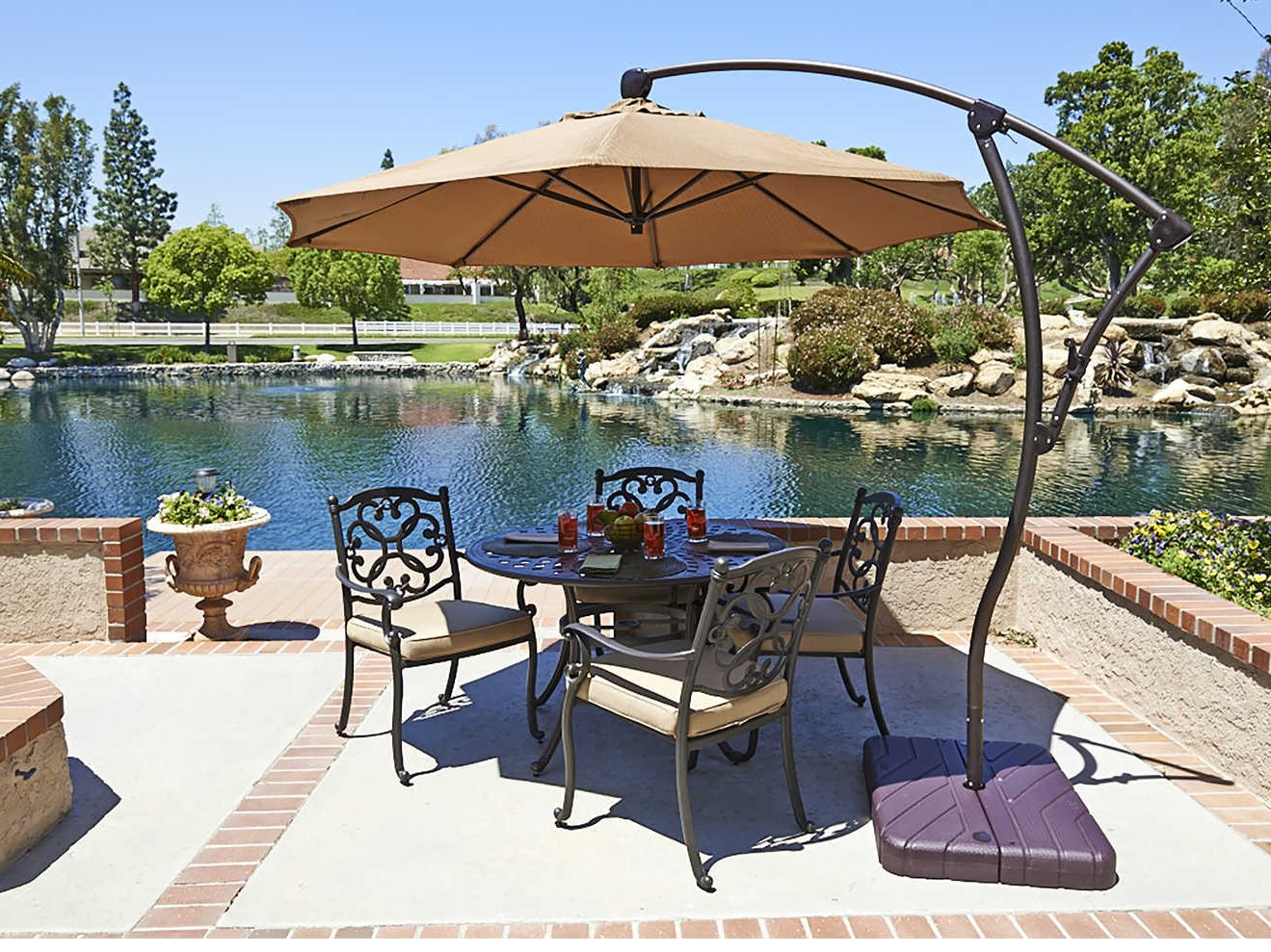California Umbrella Bayside Series 9 Foot Octagon Cantilever Aluminum  Umbrella With Crank Lift System Intended For Well Known Bayside Series Cantilever Umbrellas (View 7 of 20)