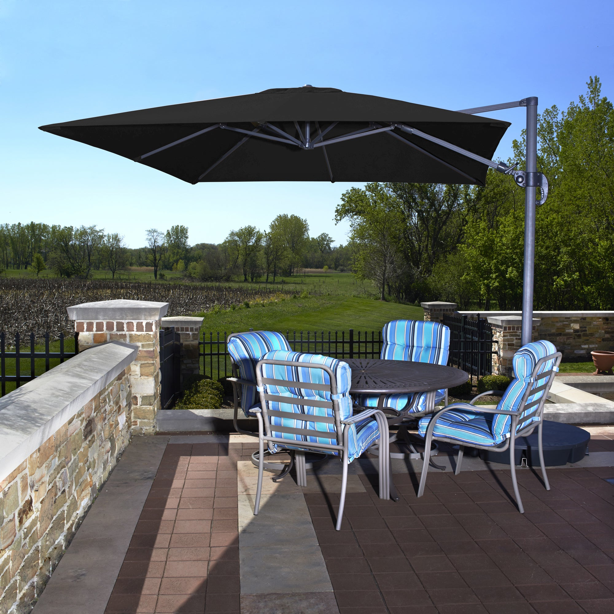 Cantilever Umbrellas Inside Trendy Santorini Ii Black Sunbrella Acrylic 10 Foot Square Cantilever Umbrella (View 3 of 20)