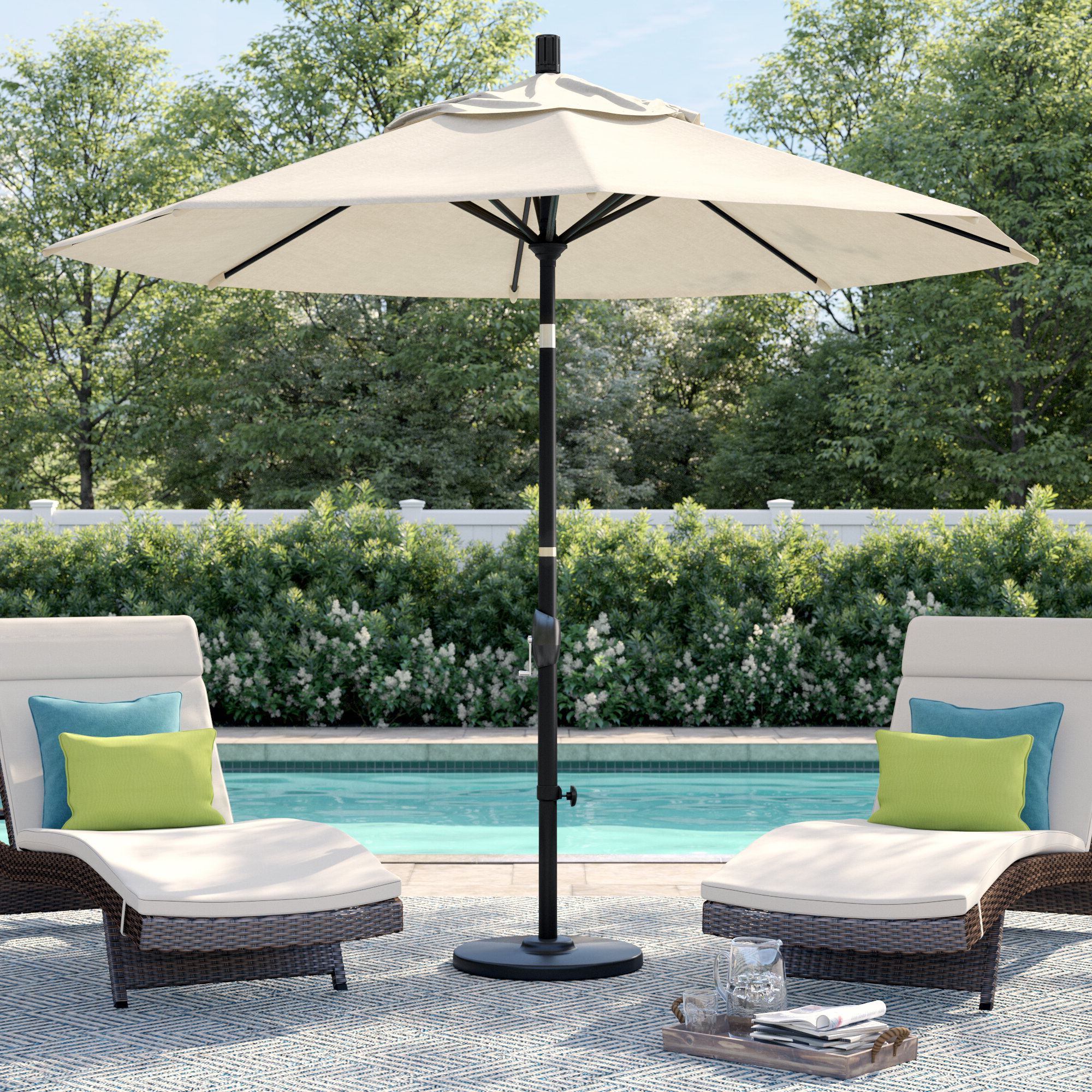 Carina 9' Market Umbrella With Best And Newest Hookton Crank Market Umbrellas (View 9 of 20)