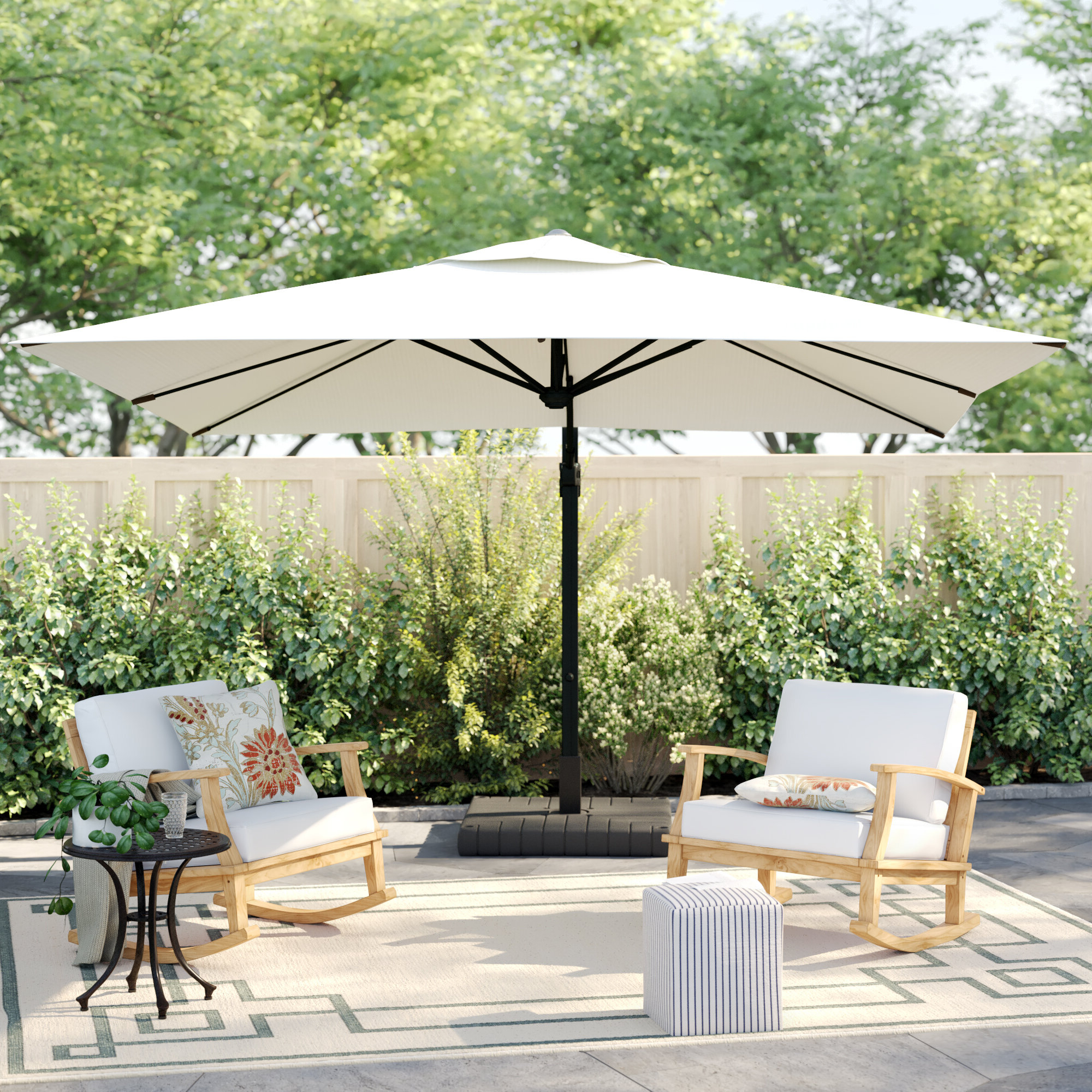 Carlisle 10' Square Cantilever Sunbrella Umbrella With Well Known Spitler Square Cantilever Umbrellas (View 10 of 20)