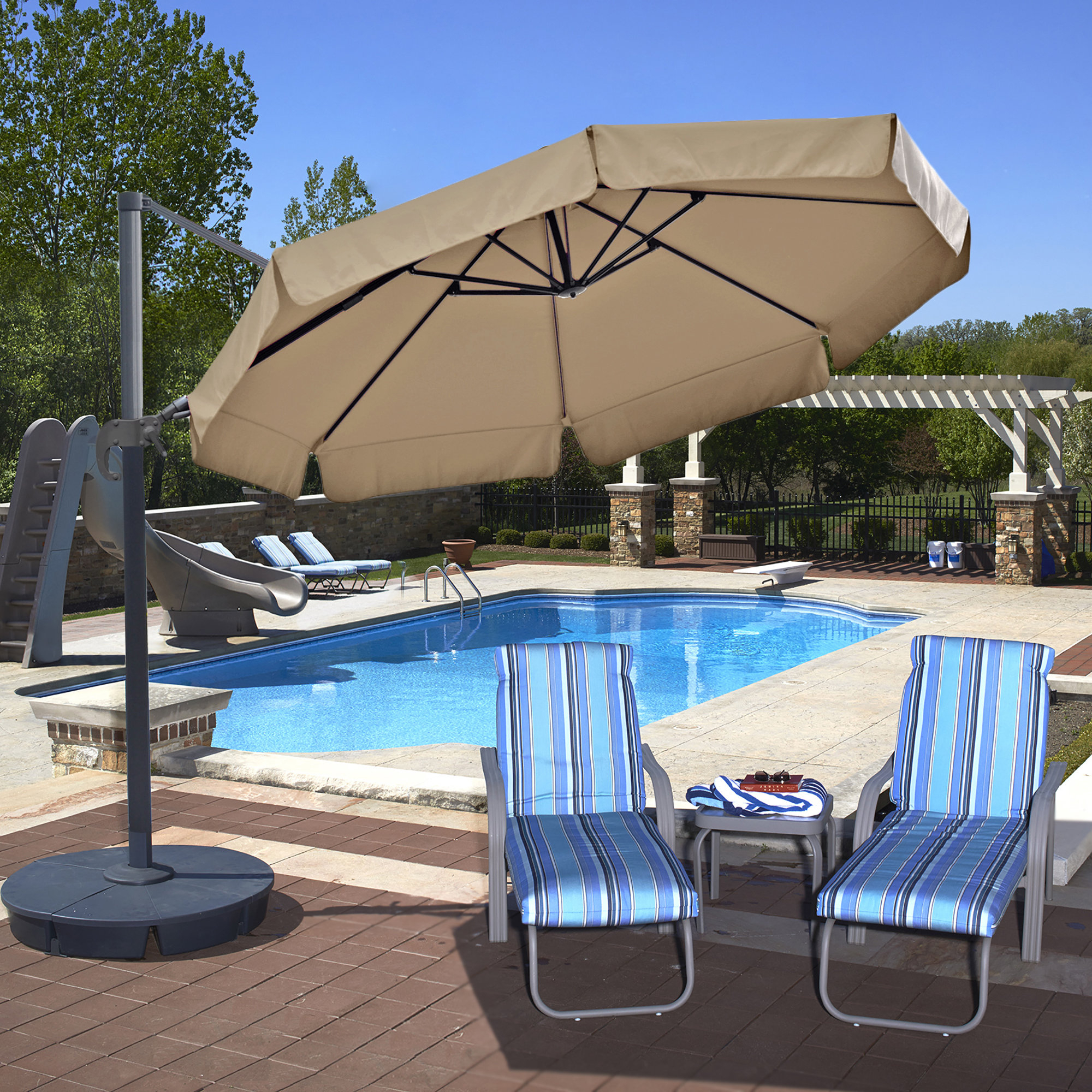 Carlisle Cantilever Sunbrella Umbrellas With Regard To Well Known Emely 11' Cantilever Sunbrella Umbrella (View 18 of 20)