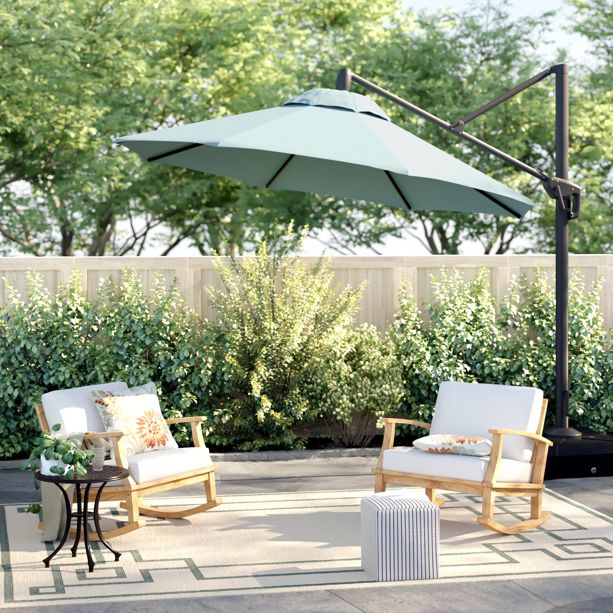 Ceylon 10' Cantilever Sunbrella Umbrella Regarding Best And Newest Carlisle Cantilever Sunbrella Umbrellas (View 10 of 20)