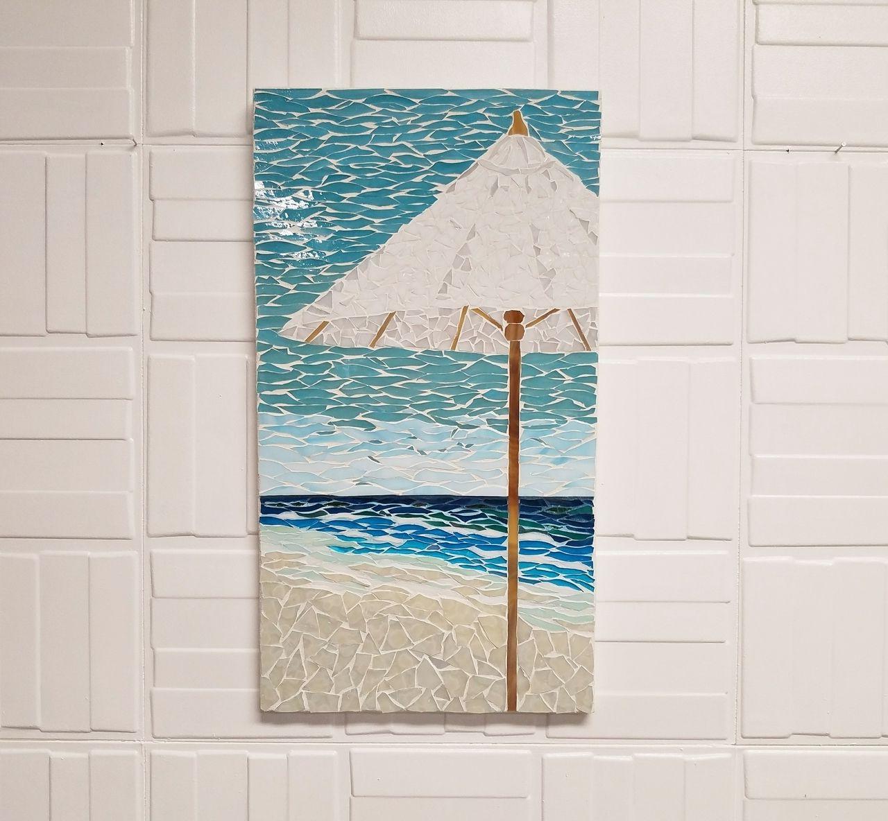 Coastal Art White Umbrella Mosaic, Beach House Art, Beach Scene Art Pertaining To Best And Newest Capra Beach Umbrellas (View 7 of 20)