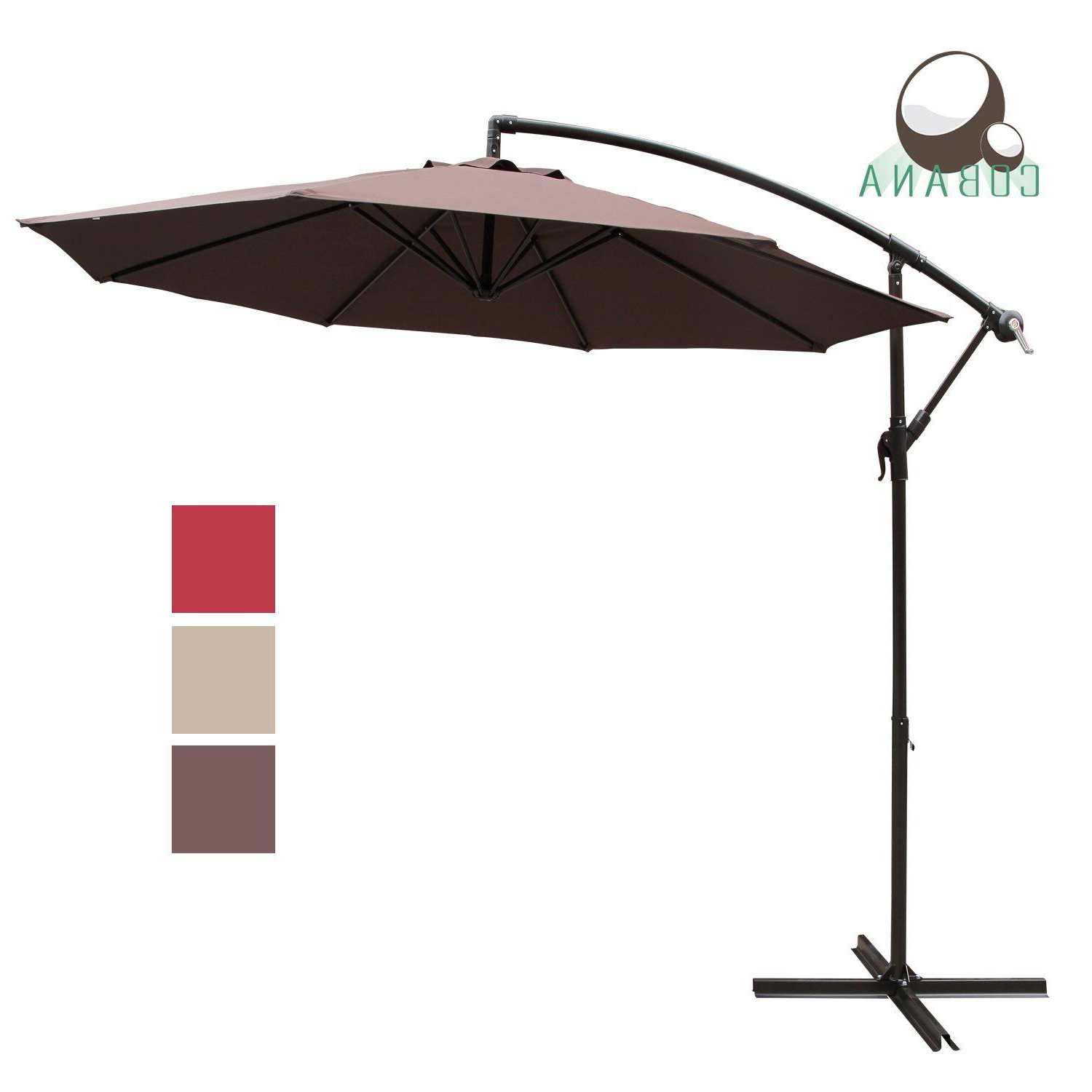 Cobana 10 Feet Cantilever Freestanding Patio Umbrella With Crank And With Regard To Well Known Jerrell Rectangular Market Umbrellas (View 3 of 20)