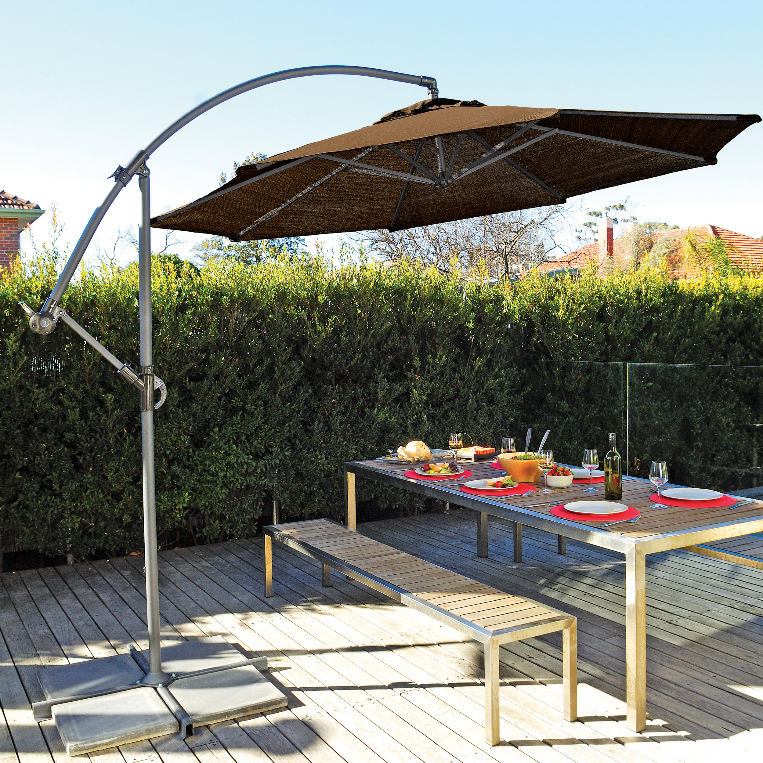 Cockermouth Rotating Cantilever Umbrellas Intended For Fashionable Coolaroo 10' Cantilever Umbrella (View 6 of 20)