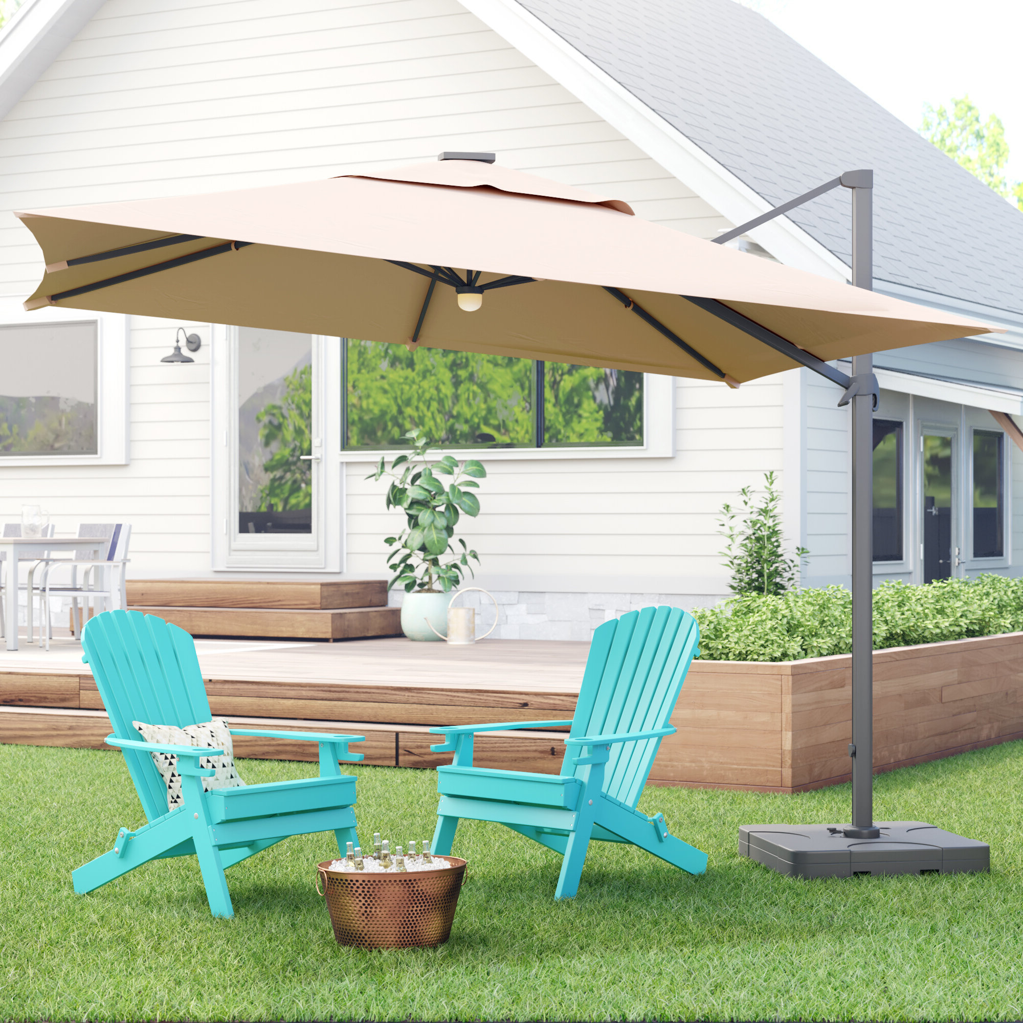 Cora Square Cantilever Umbrellas With Trendy Jendayi Square Cantilever Umbrella (View 9 of 20)