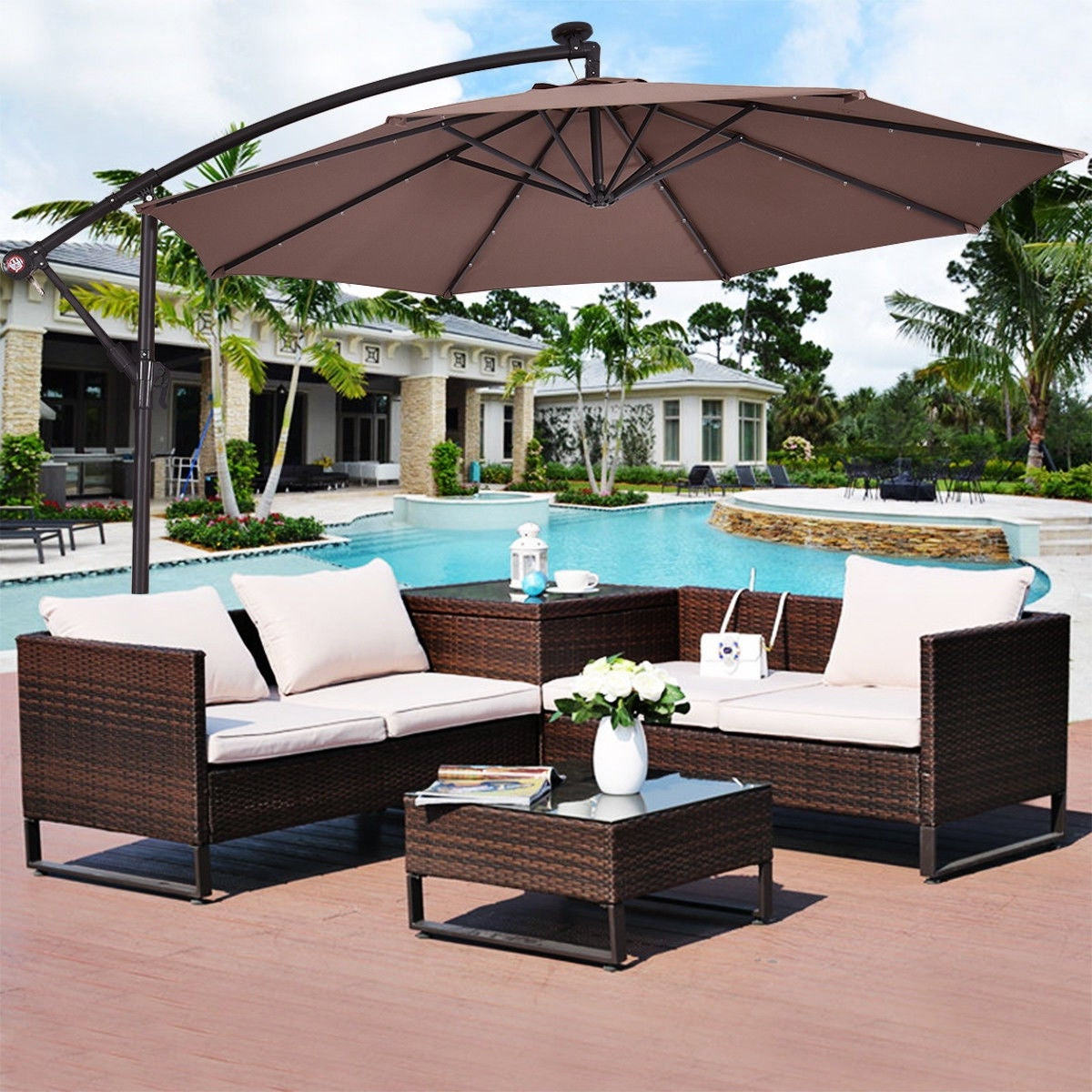 Costway 10' Hanging Solar Led Umbrella Patio Sun Shade Offset Market W/base  Tan Pertaining To Widely Used Sun Ray Solar Cantilever Umbrellas (View 2 of 20)