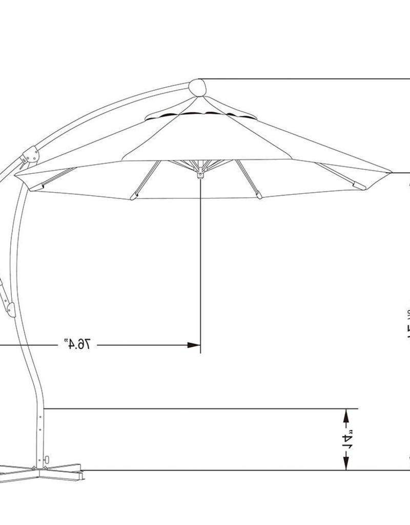 Current California Umbrella California Umbrella 9' Bayside Series Cantilever With Bronze Aluminum Pole Aluminum Ribs 360 Rotation Tilt Crank Lift With Regarding Bayside Series Cantilever Umbrellas (View 5 of 20)