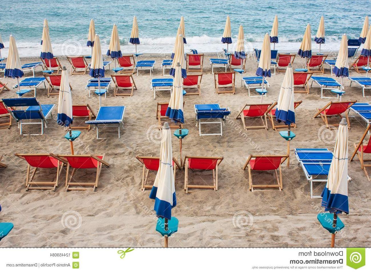Current Italian Beach Umbrellas Regarding On The Beach The Umbrellas Are Closed Editorial Stock Image – Image (View 3 of 20)