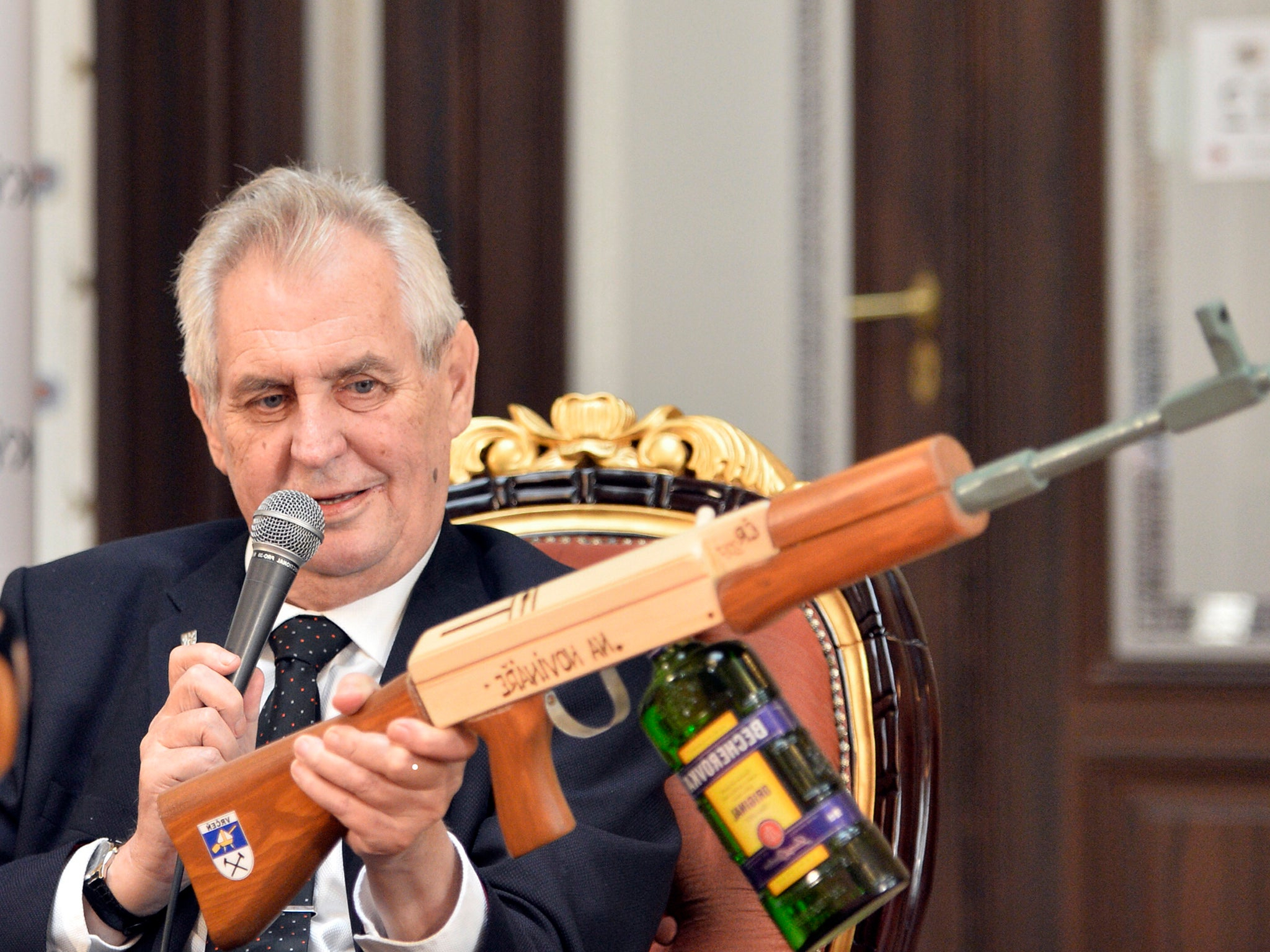 Czech President Holds Up Replica Gun Marked 'for Journalists' In Throughout Most Current Zeman Market Umbrellas (View 15 of 20)