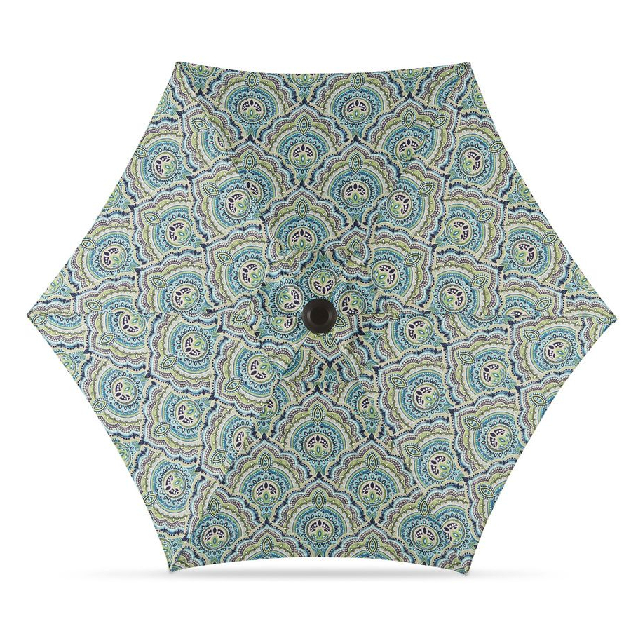 Darwen Tiltable Patio Stripe Market Umbrellas For Preferred Garden Treasures Blue Paisley Market Patio Umbrella (Common:  (View 4 of 20)
