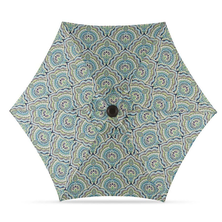 Darwen Tiltable Patio Stripe Market Umbrellas For Preferred Garden Treasures Blue Paisley Market Patio Umbrella (common:  (View 15 of 20)